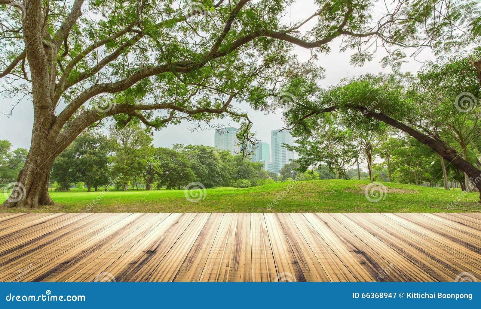 Houten lijstbovenkant op tuin op stadsachtergrond
