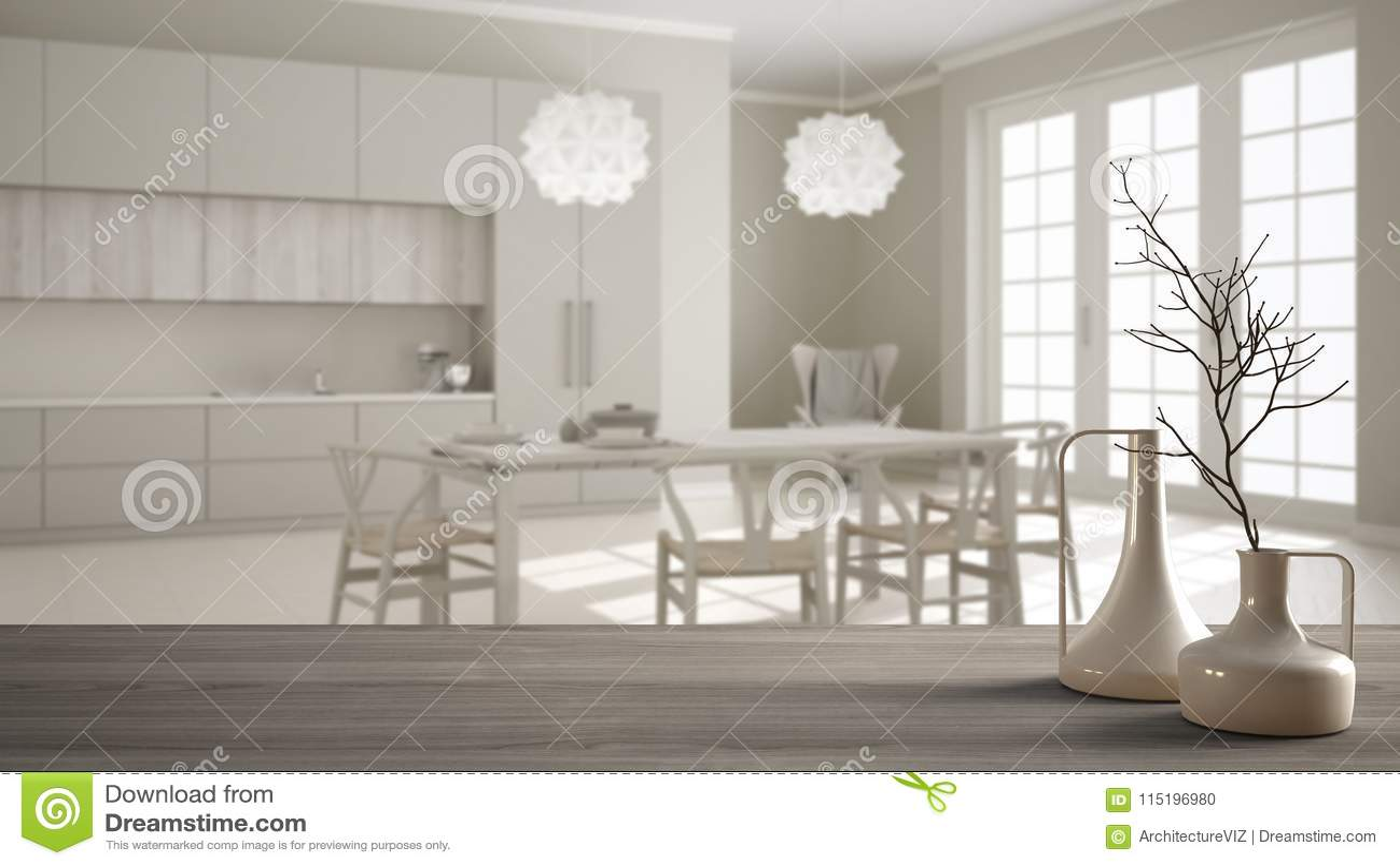 Witte Klassieke Eettafel.Houten Lijstbovenkant Of Plank Met Minimalistic Moderne