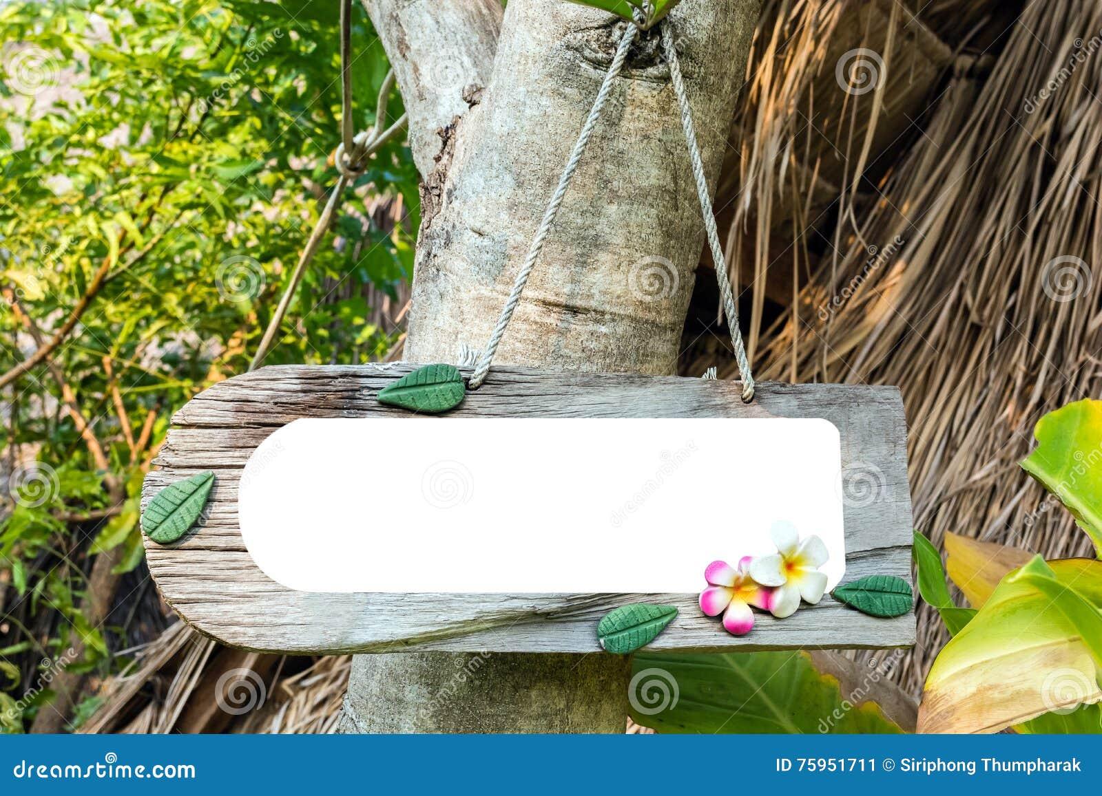 Houten markering op boom in park spatie op houten markering voor bericht van conc
