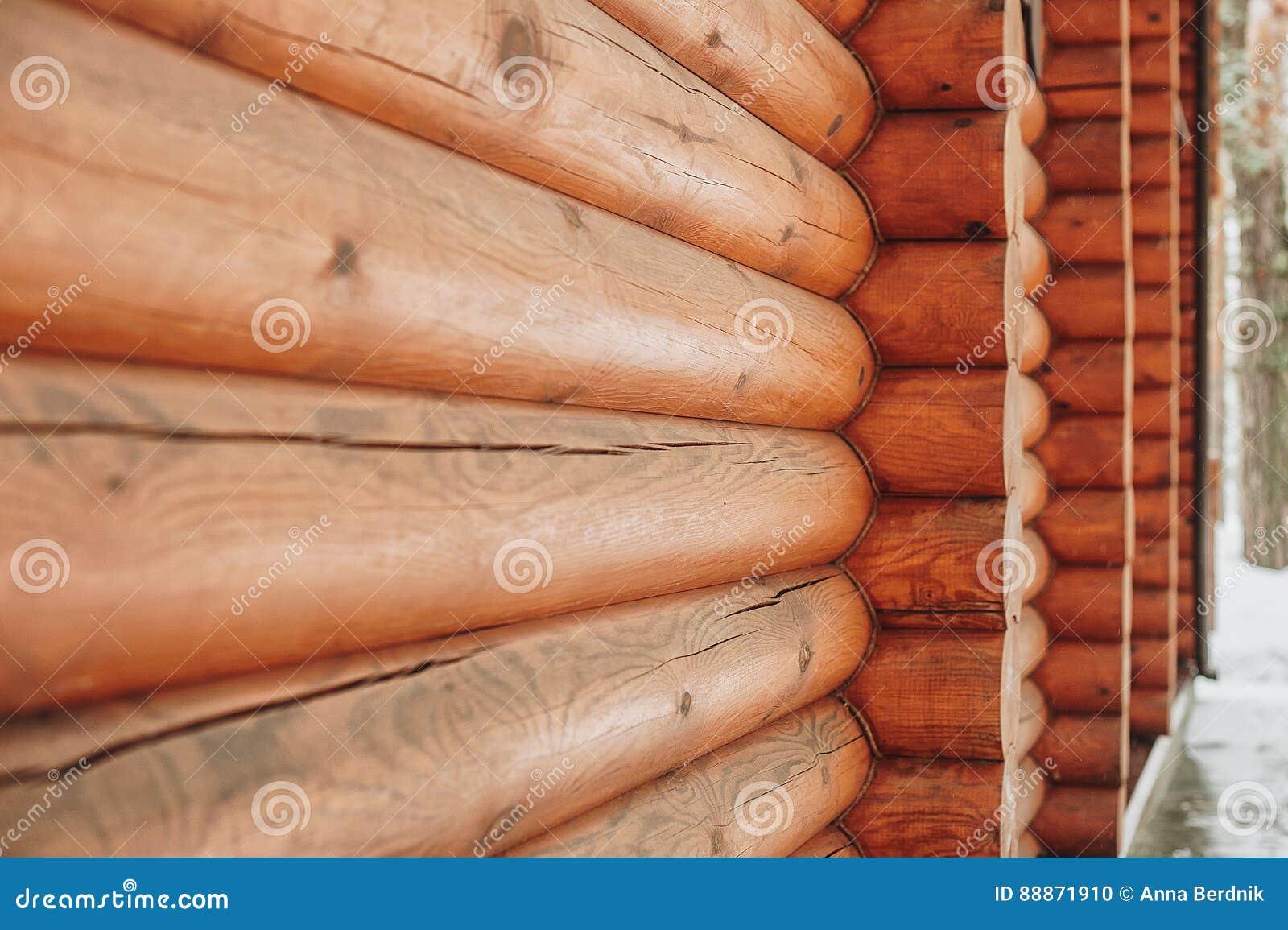 Houten muur van logboeken