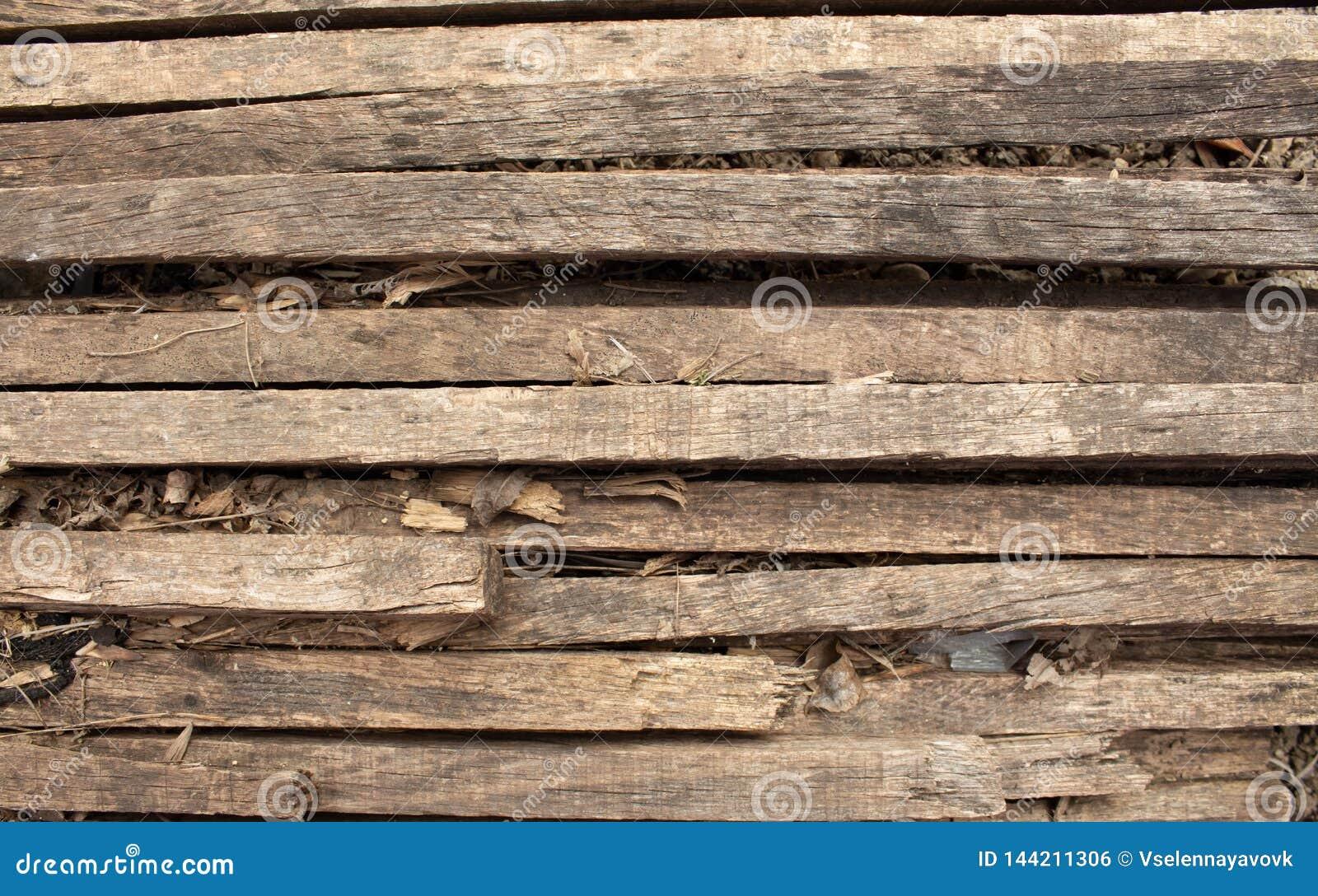 Houten natuurlijke bruine achtergrond met littekens en patronen Houten latjes Gebrande boom