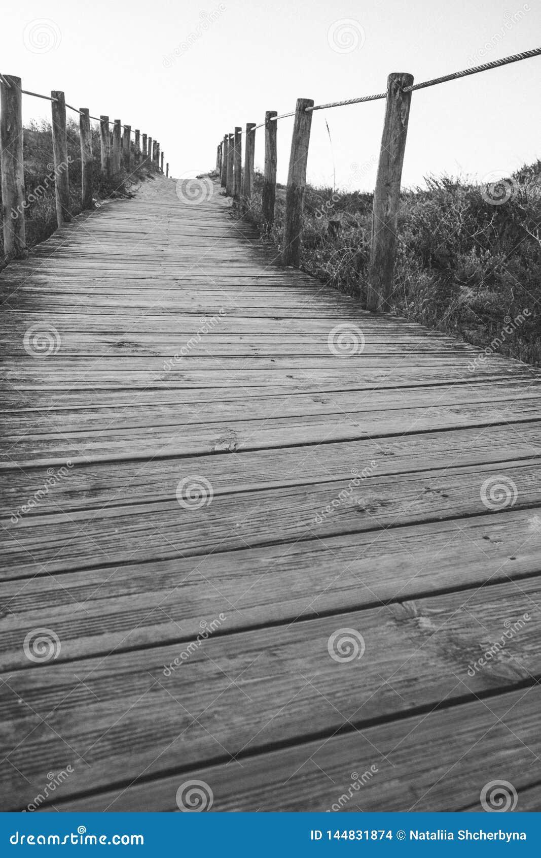 Houten omheining en gang aan zwart-wit strand Lege zwart-wit weg Het lopen concept