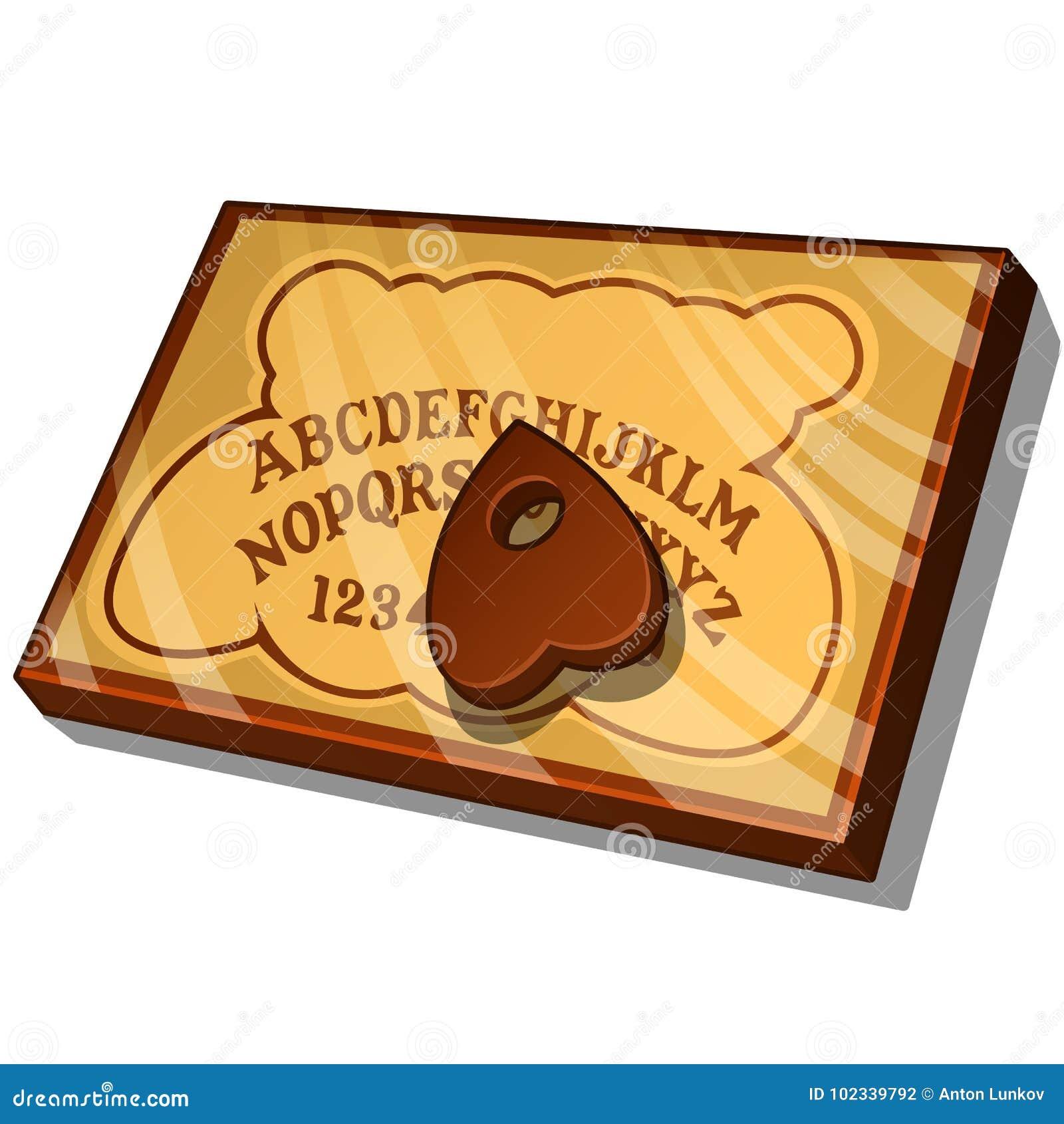 Houten Ouija-Raad met Engelse brieven Vectordieillustratie in beeldverhaalstijl op wit wordt geïsoleerd