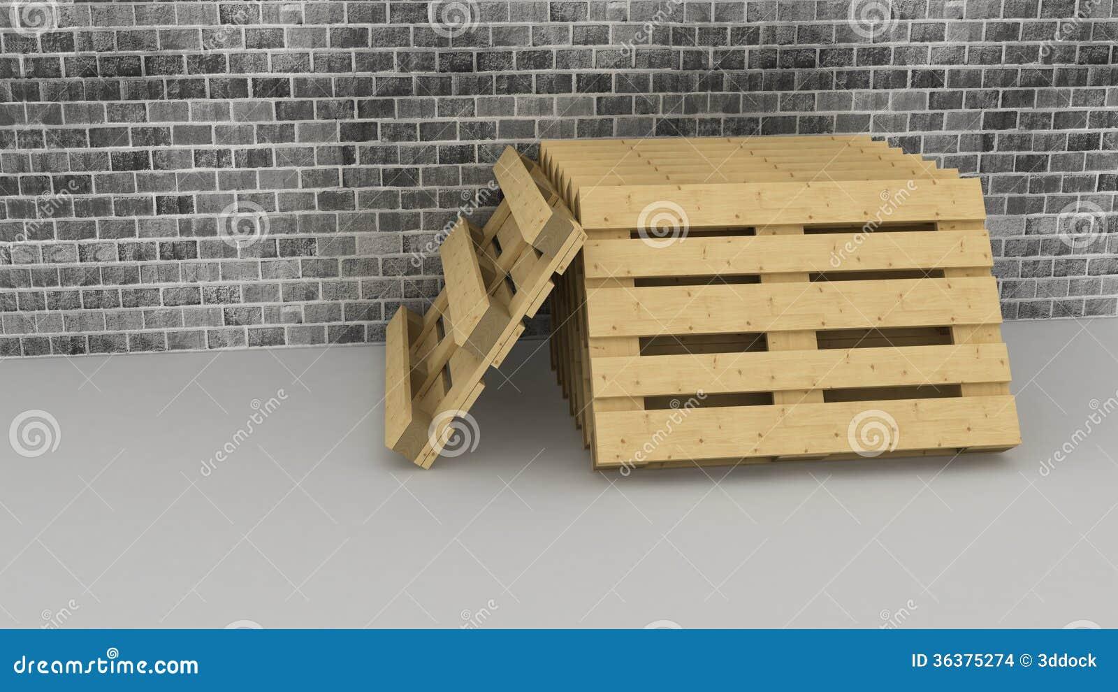 Houten pallets op bakstenen muurachtergrond stock illustratie afbeelding 36375274 - Foto houten pallet ...
