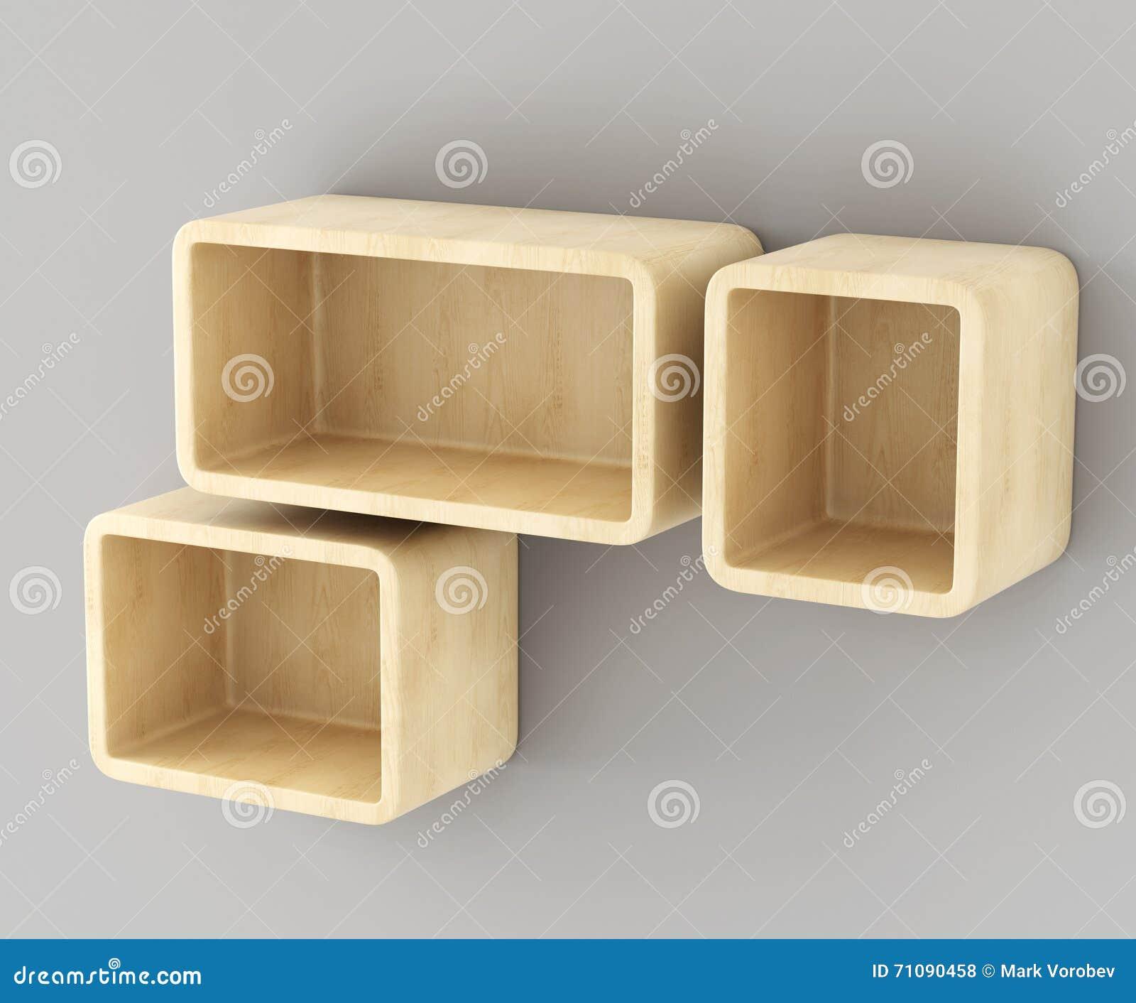 Plank Aan Muur Hangen.Houten Planken Die Op De Muur Hangen 3d Stock Illustratie