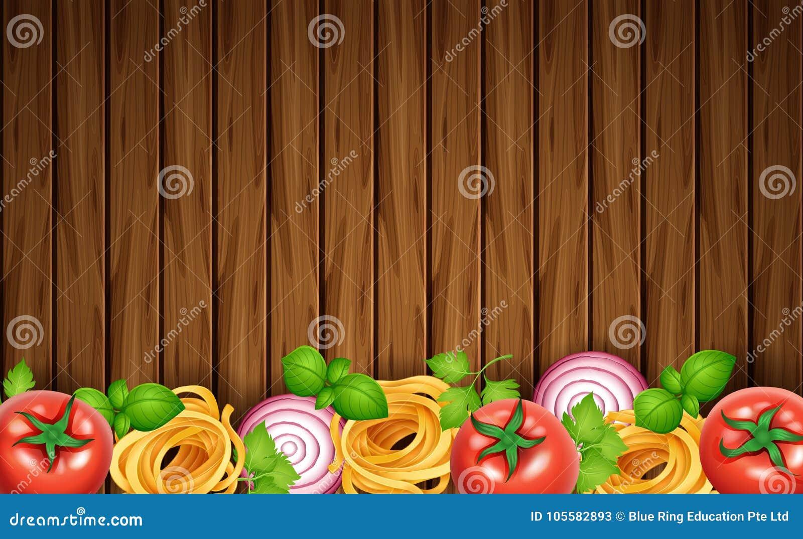 Houten raad met deegwaren en verse groenten