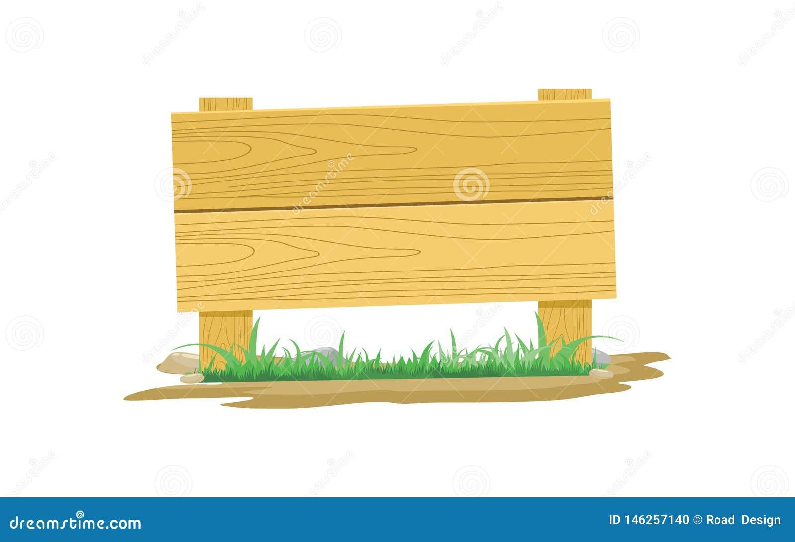 Houten Raadspictogram met Gras en Steen Vectorillustratie