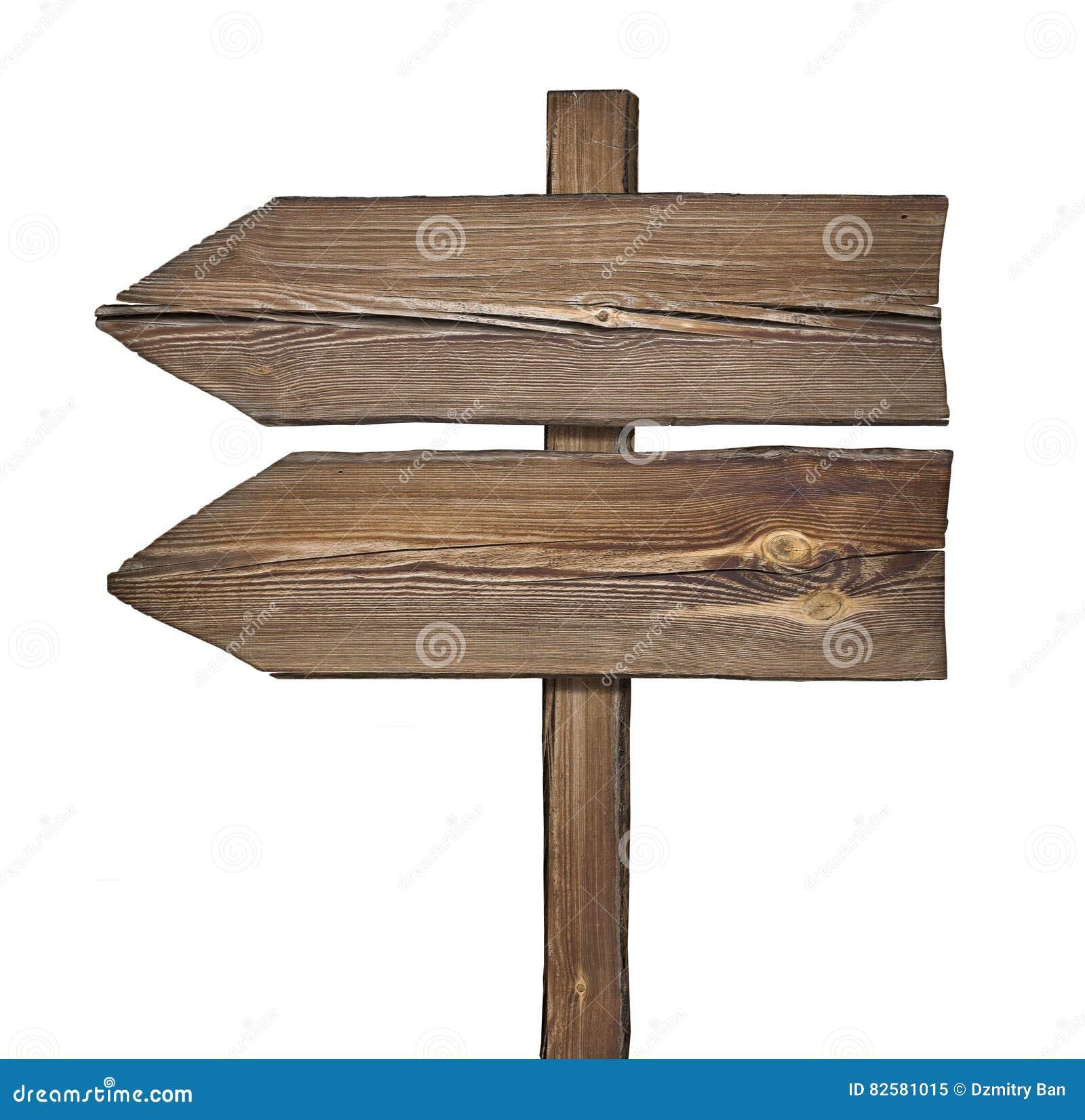 Houten richtingsteken met twee pijlen in één richting