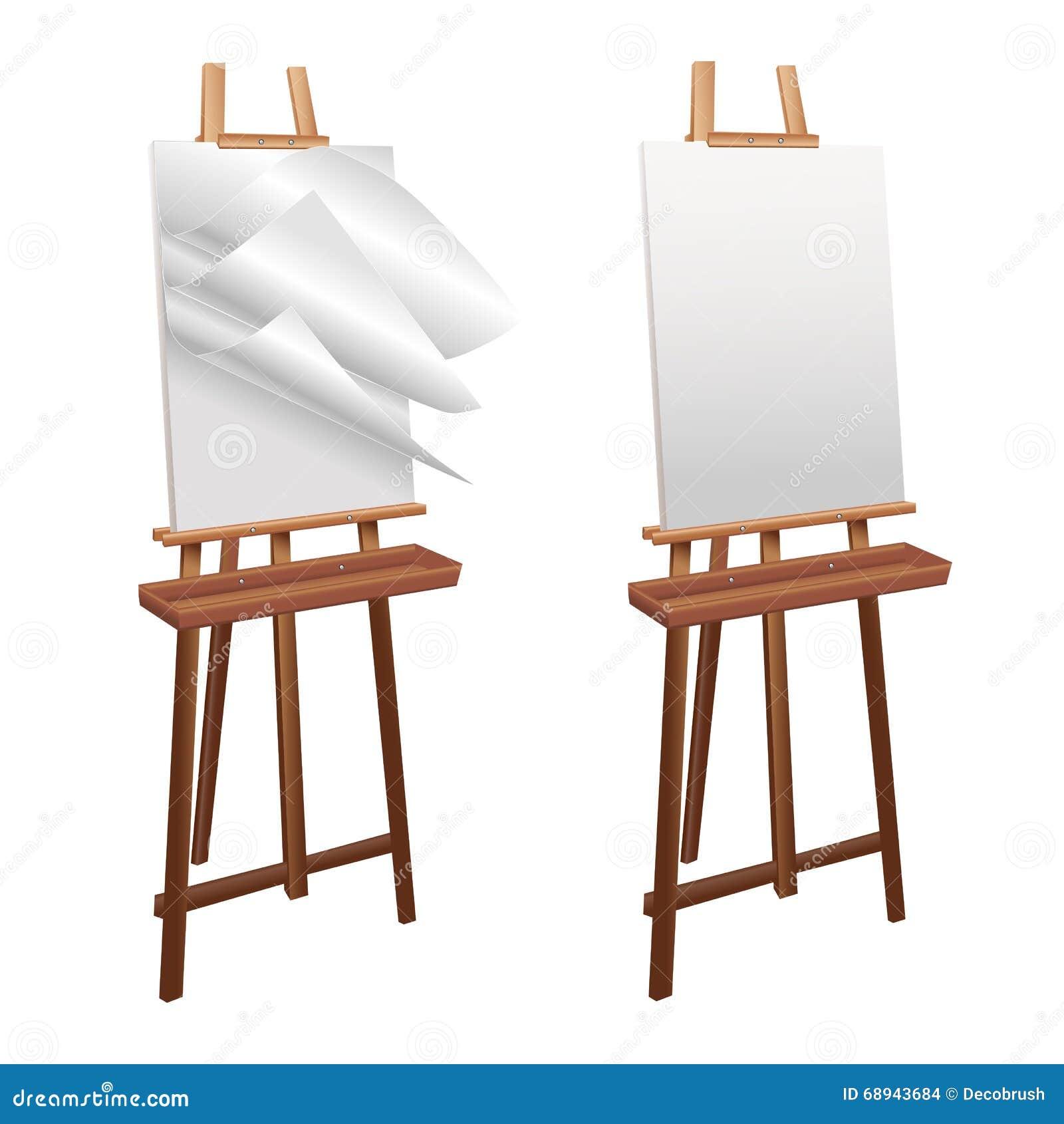 Houten schildersezel op een witte achtergrond