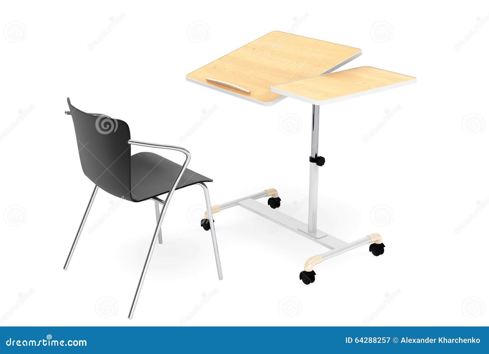 Houten school huis en bureaulaptop bureau met stoel stock