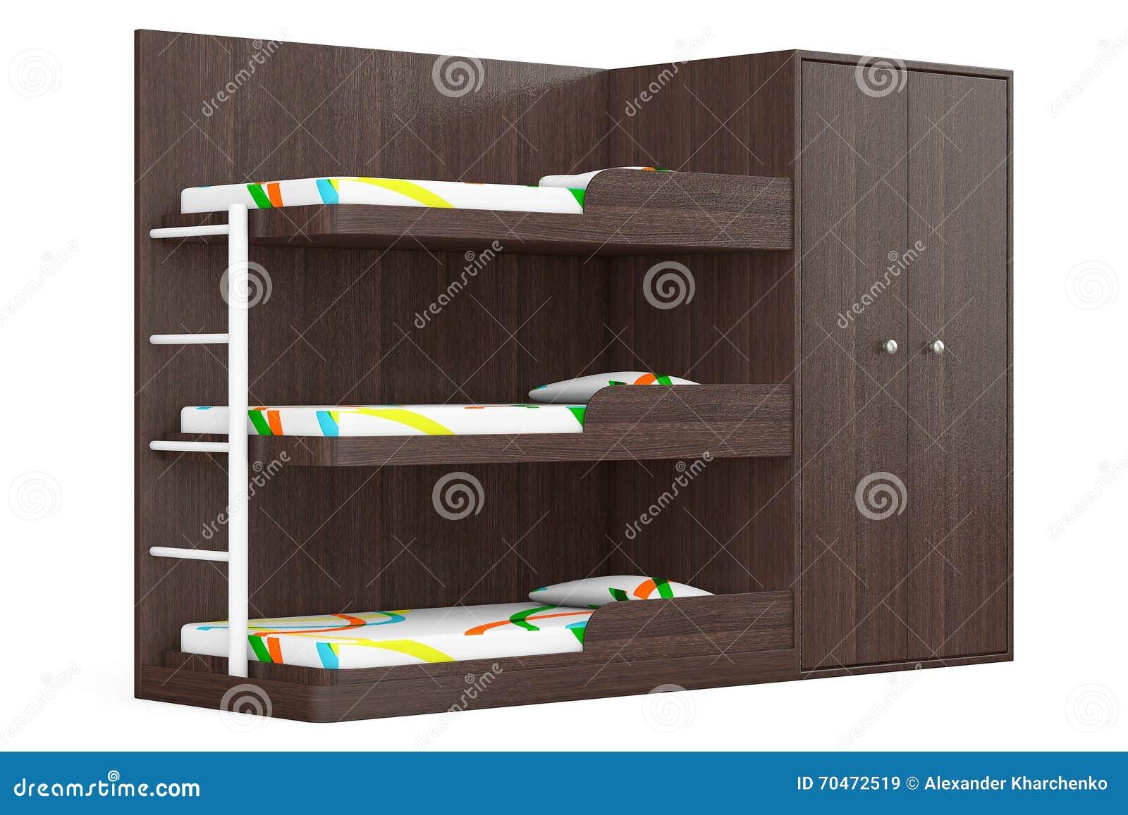 Wit Houten Stapelbed.Houten Stapelbed Het 3d Teruggeven Stock Illustratie Illustratie