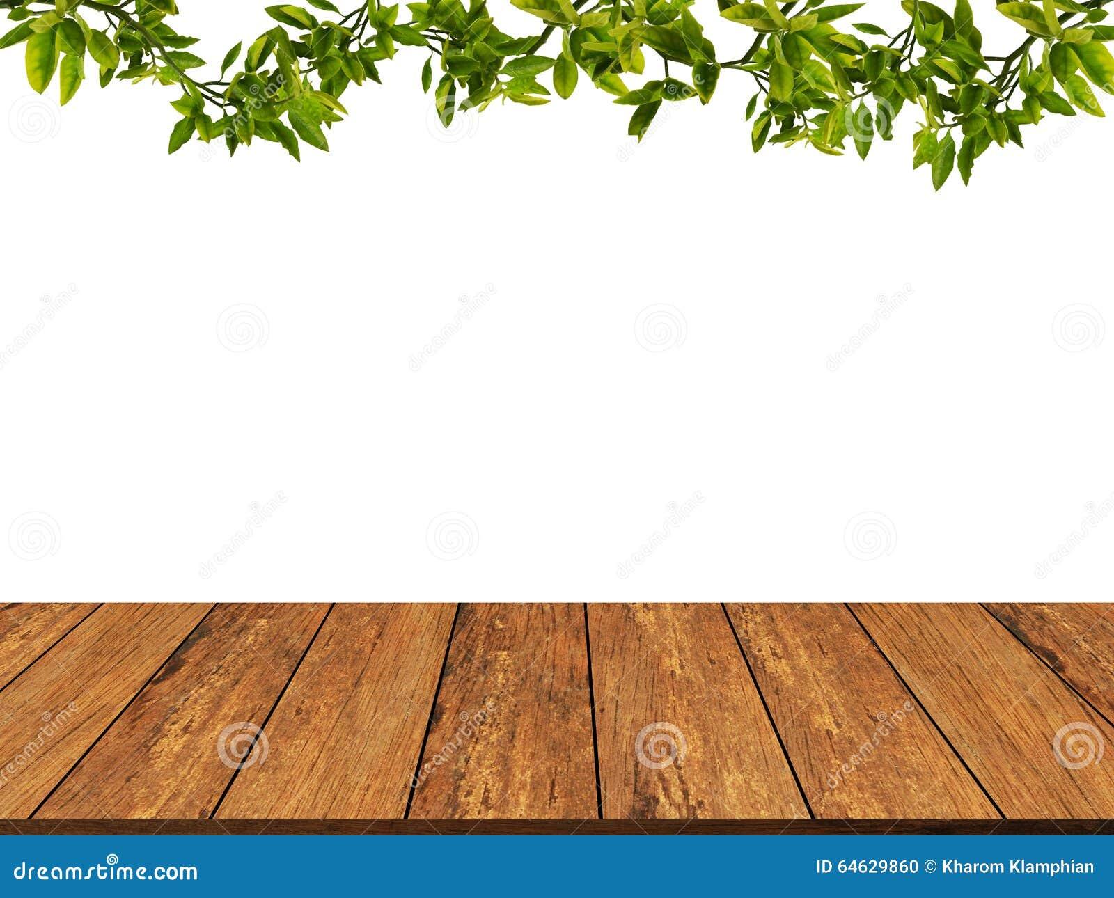 Houten textuur met bladeren en takachtergrond Houten muur grunge