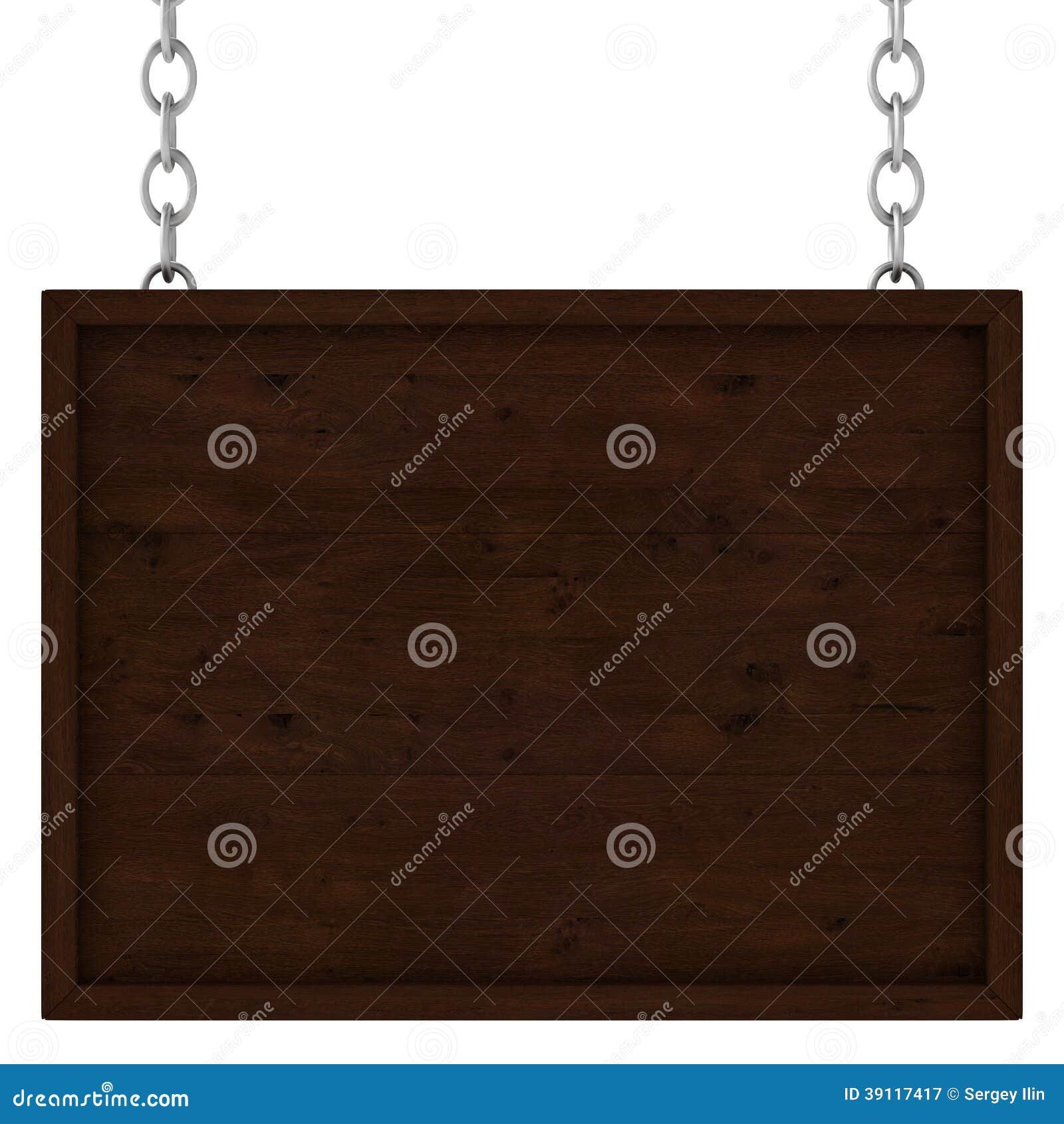 Houten uithangbord op de kettingen