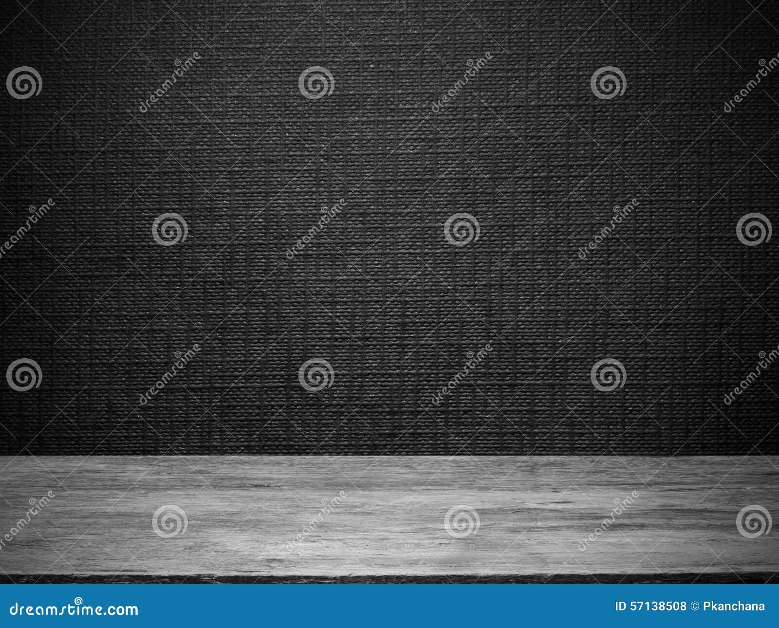 Houten vloer en zwart behang stock foto afbeelding bestaande uit