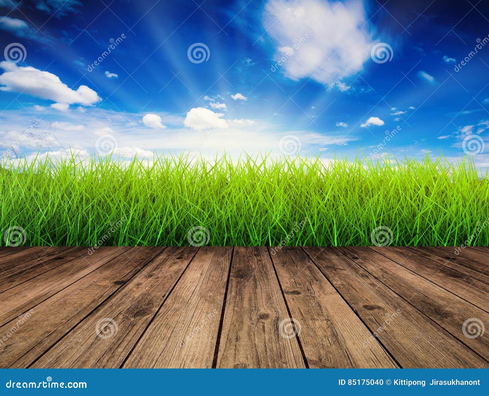 Houten vloer met groen gras