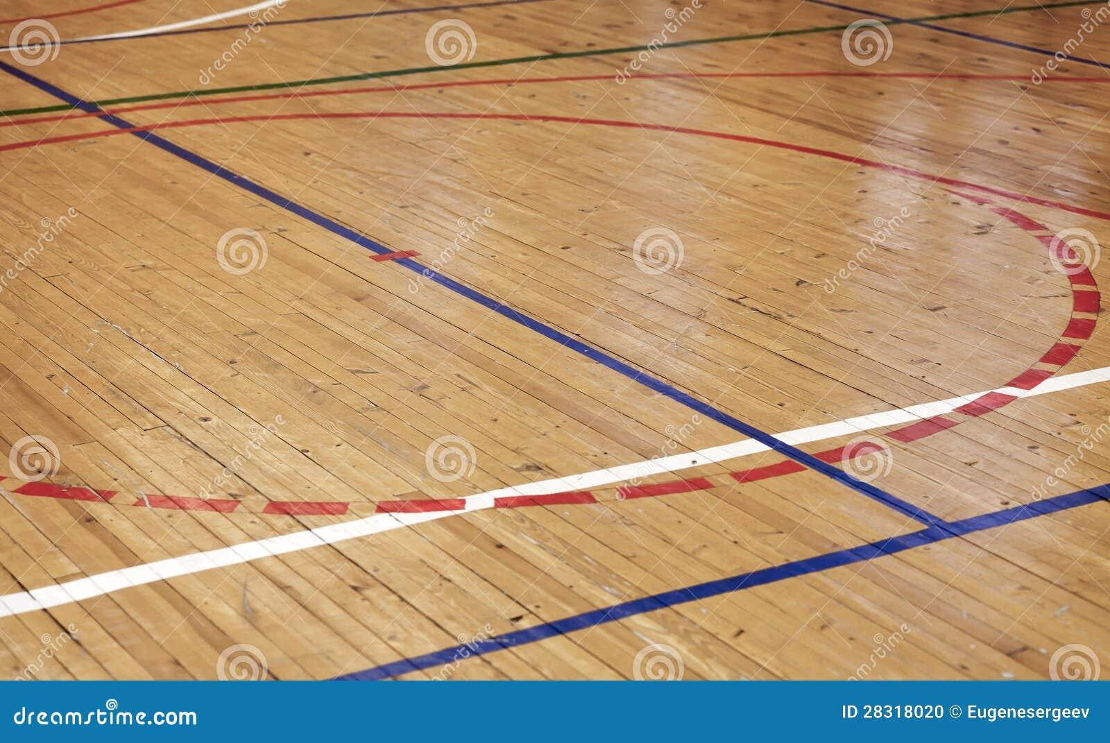 Houten vloer in sporthal met kleurrijke lijnen stock foto afbeelding 28318020 - Houten vloer hal bad ...