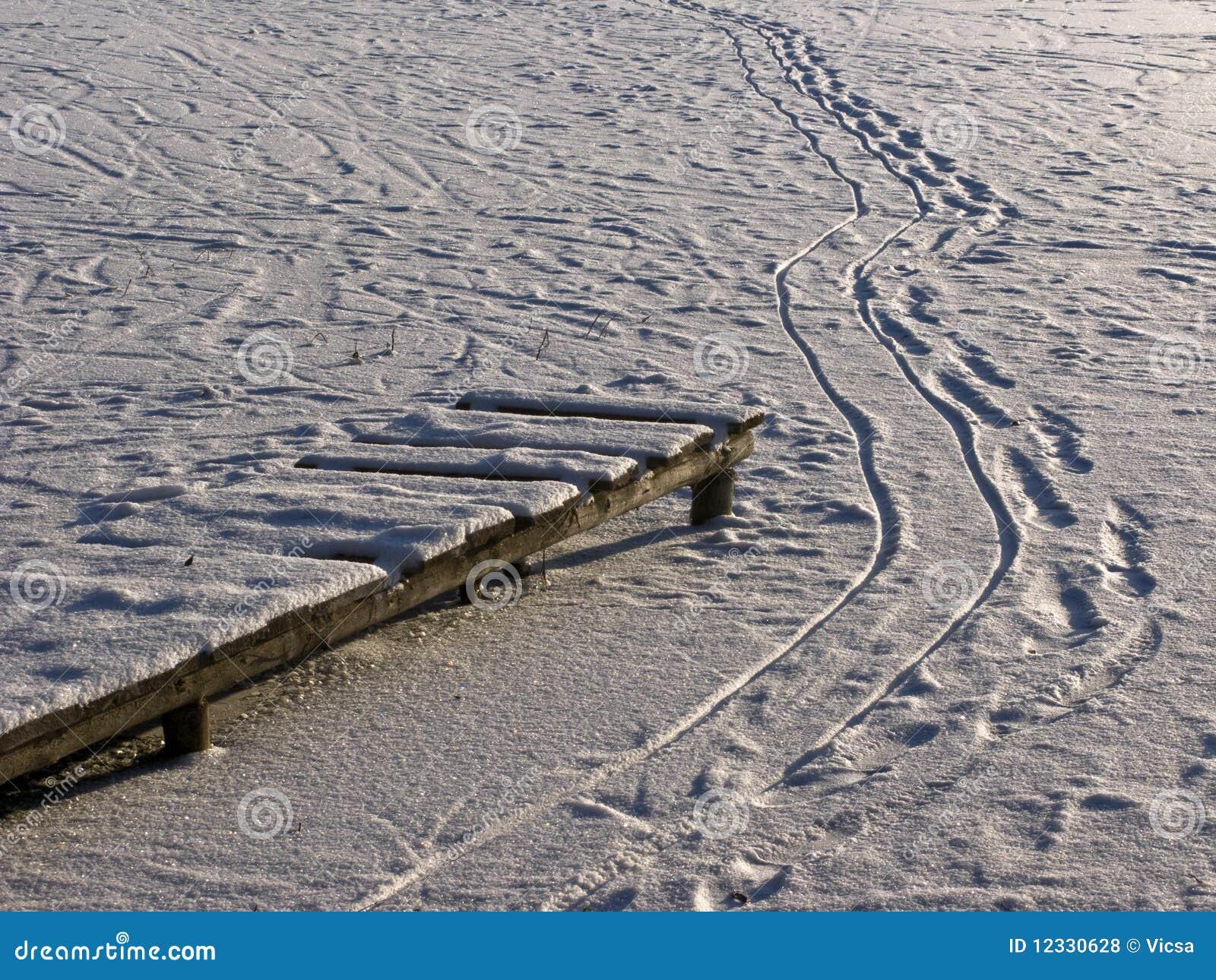 Houten voetpad en voetstappen op bevroren vijver