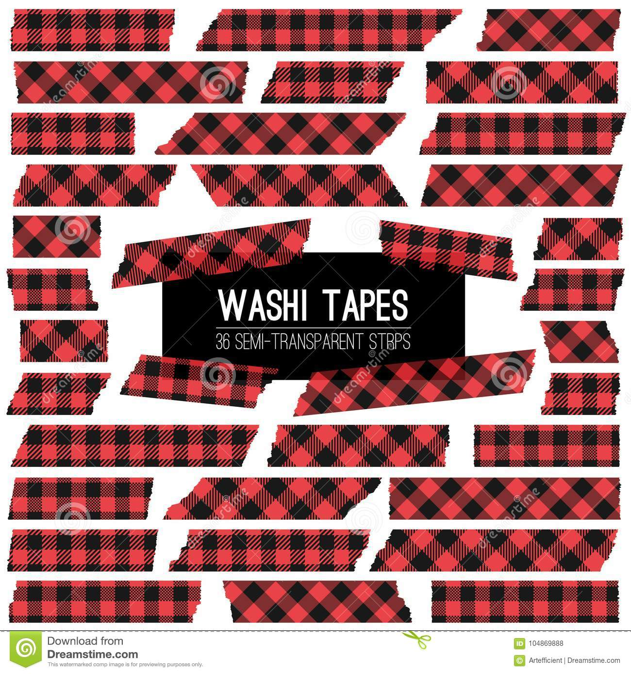 Houthakker Buffalo Plaid Red en Zwarte Washi-Band Vectorstroken