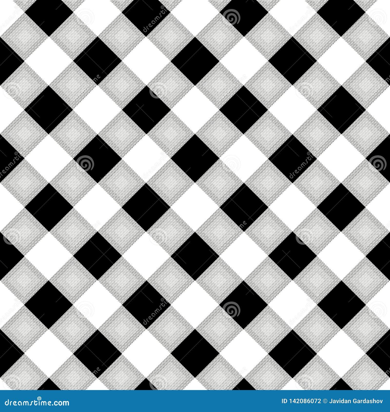 Houthakkersplaid Schots patroon in witte en zwarte kooi Schotse kooi Buffelscontrole Traditioneel Schots Ornament