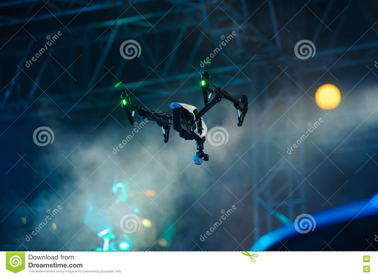 Hovering drone with camera on stage