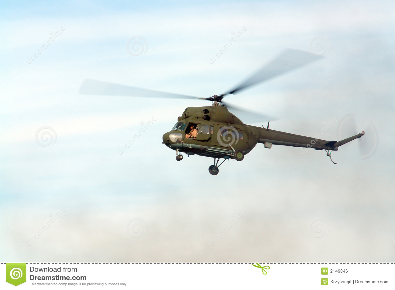 Hovering helicopter