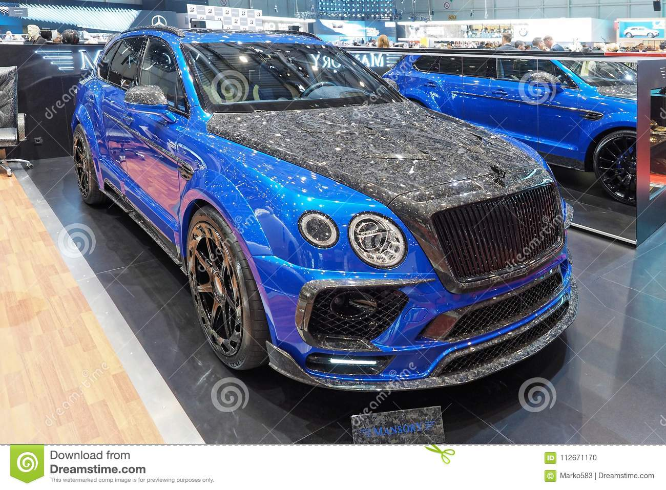 88th Geneva International Motor Show 2018 Mansory Bentley Bentayga Bleurion Edition Editorial Image Image Of Blue Hosting 112671170