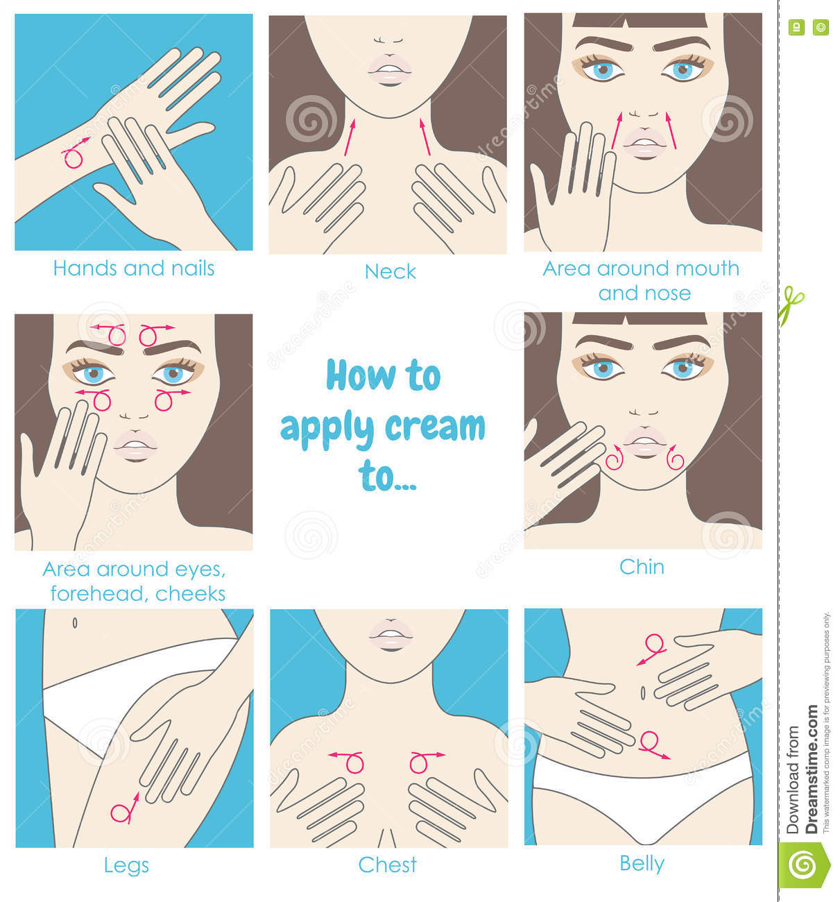 How To Apply Cream To The Face Neck Hands Belly Legs Design