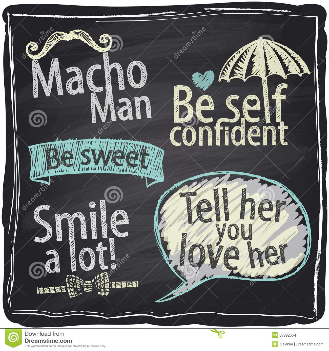 How to be a macho man chalkboard background.