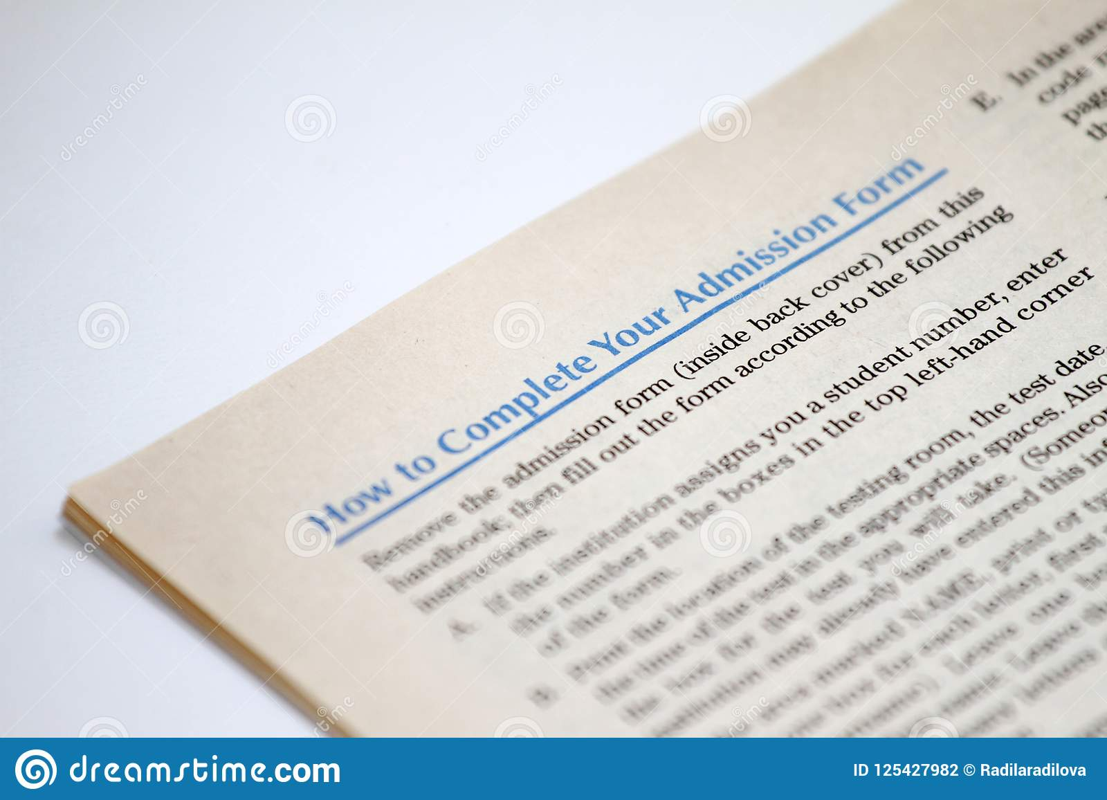 How To Complete Yor Admission Form Stock Photo - Image of