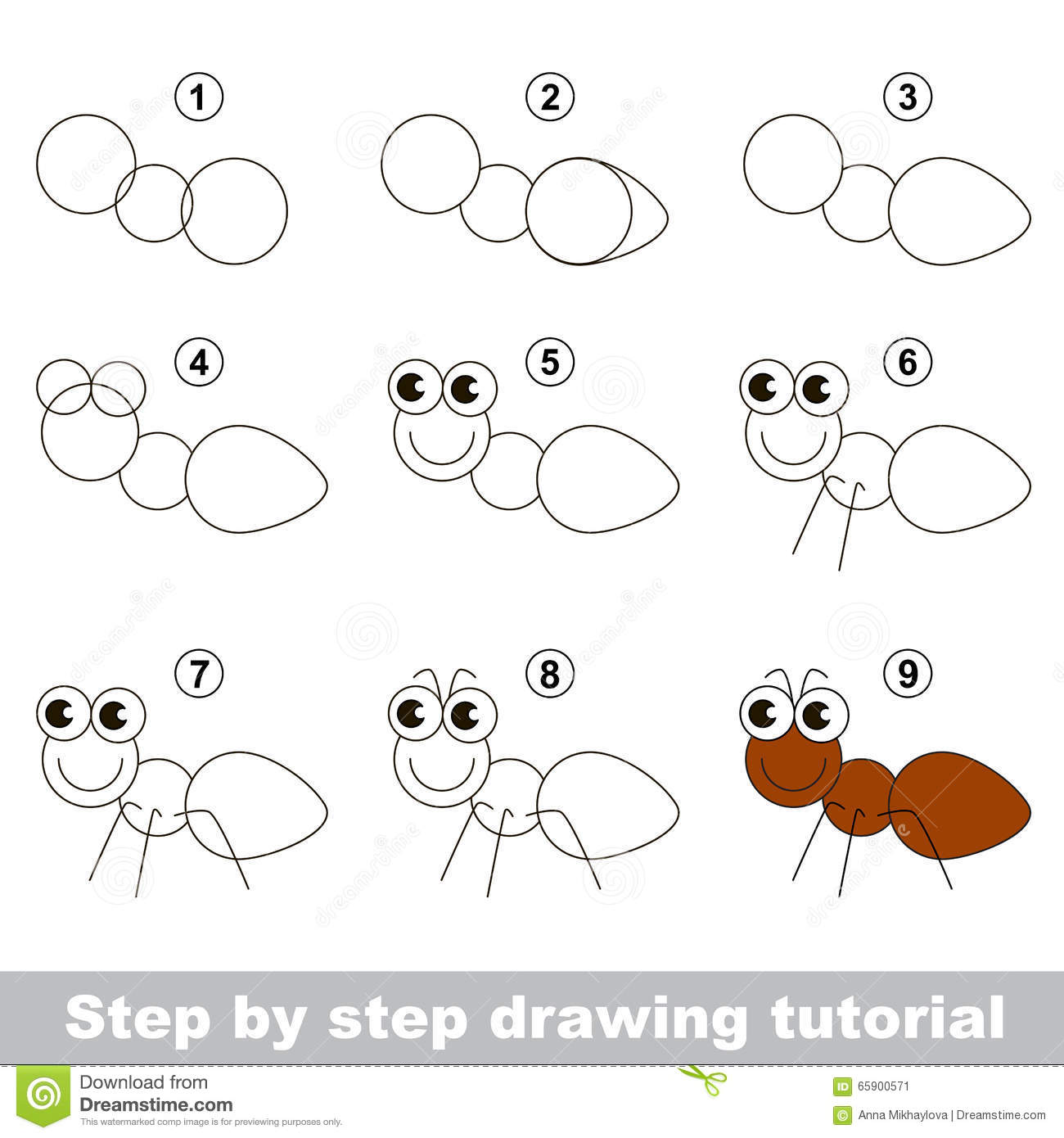 how to draw an ant stock vector illustration of game 65900571