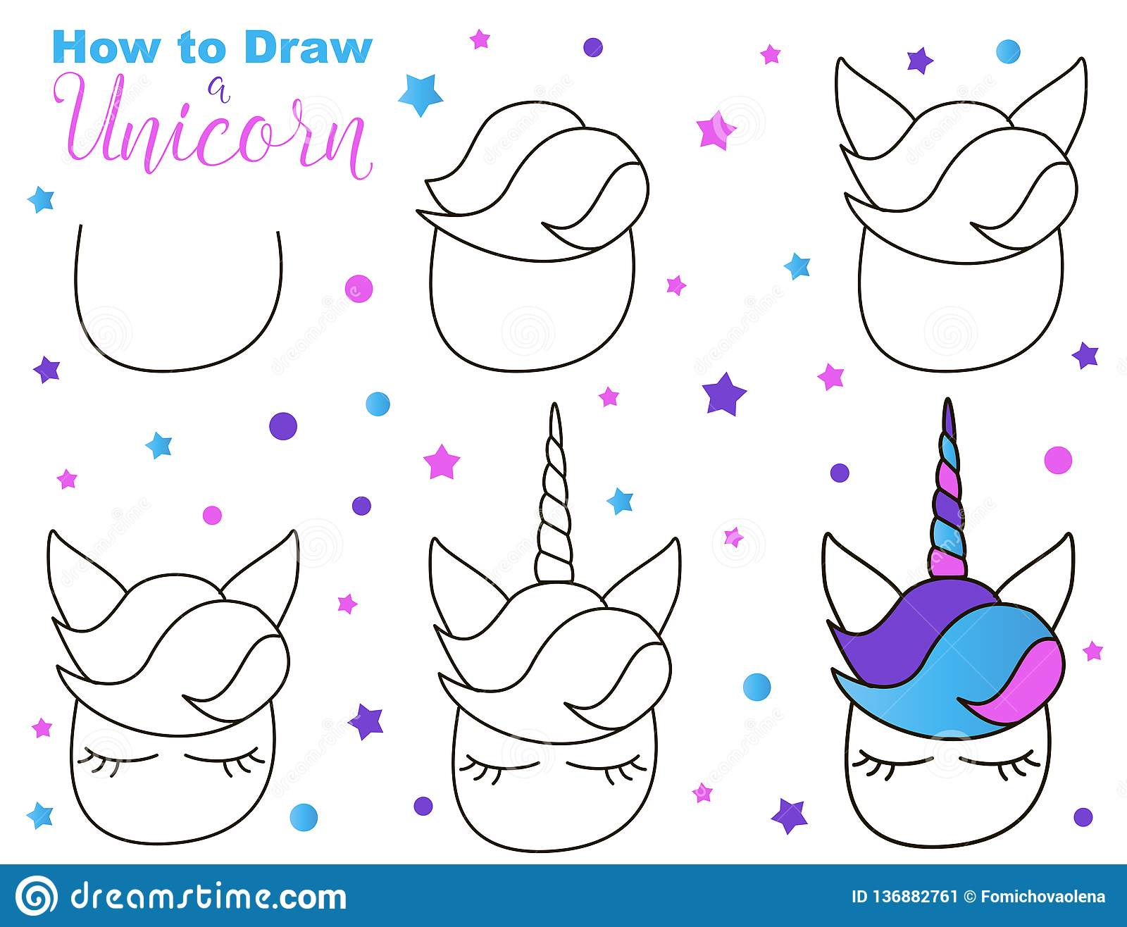 How To Draw Cute Unicorn Easy Steps For Children Activity Kawaii