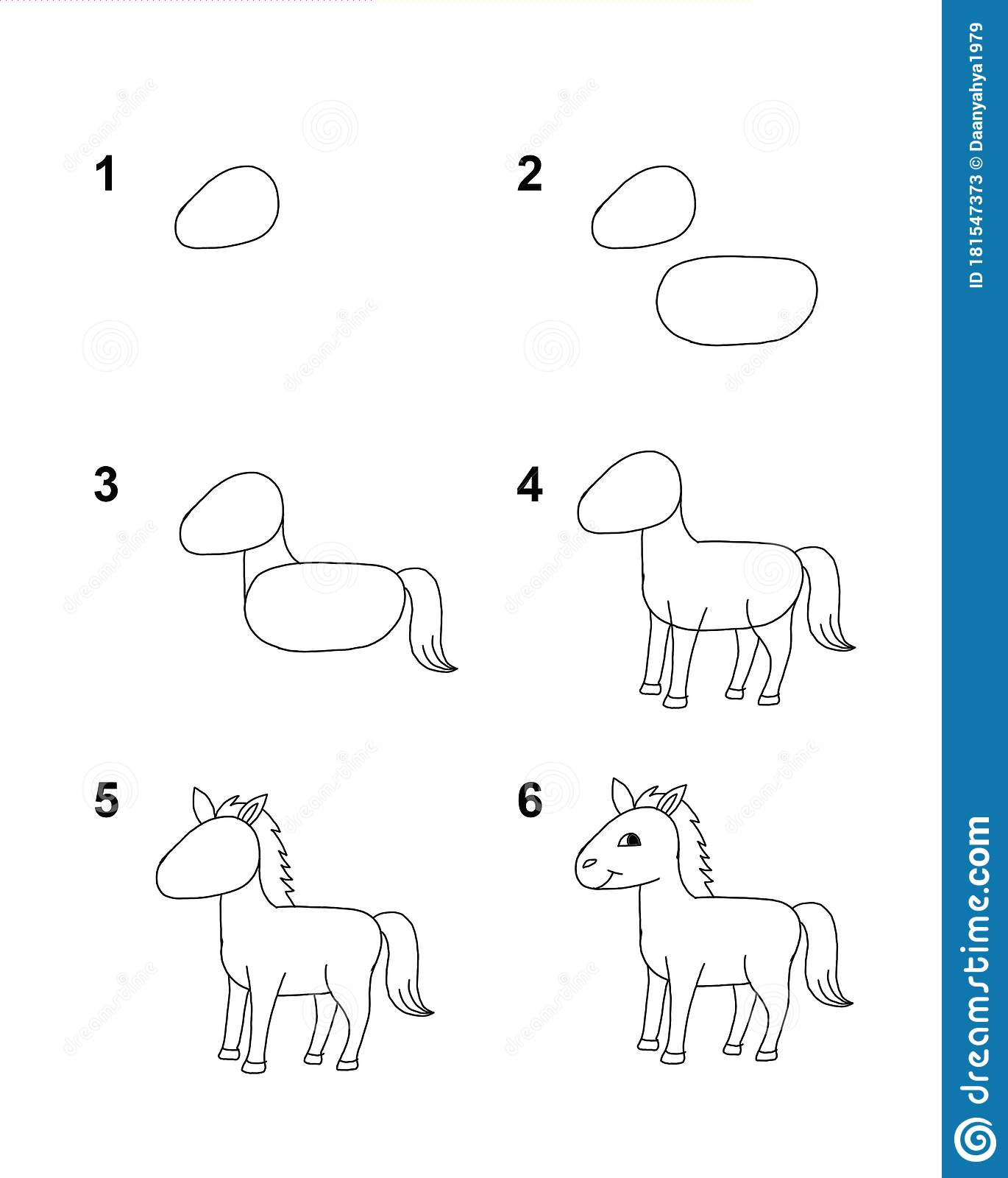 How To Draw Horse With 6 Step Cartoon Illustration With White Background Stock Illustration Illustration Of Happy Learn 181547373