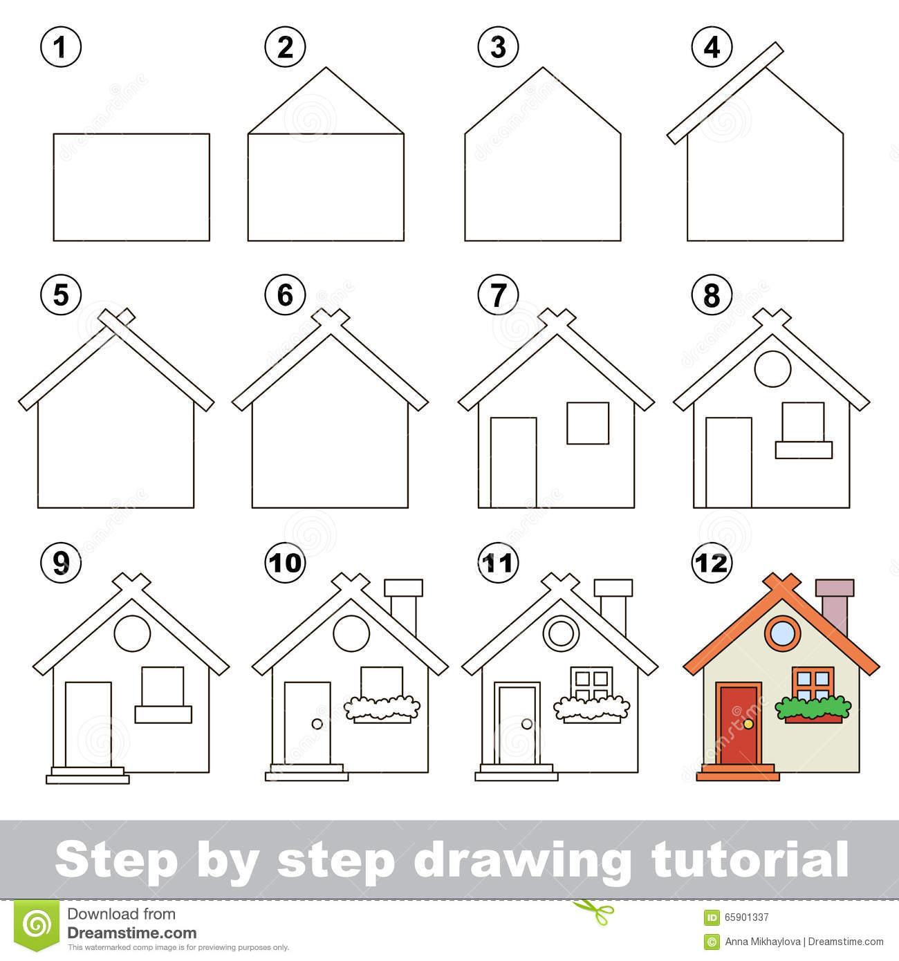 How to draw a toy house stock vector illustration of for Draw your house