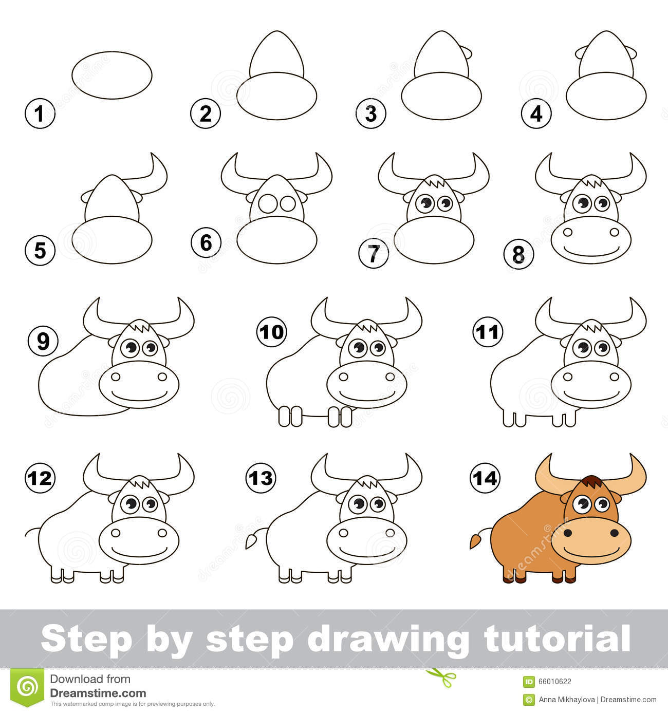 Vector Drawing Lines Game : How to draw a yak stock vector illustration of teach
