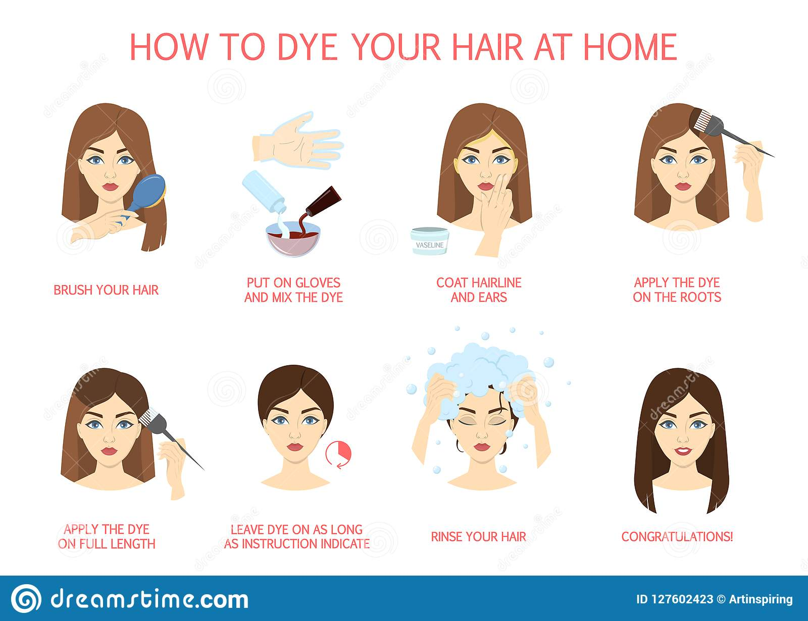 How To Dye Your Hair At Home Stock Vector - Illustration of beauty ...