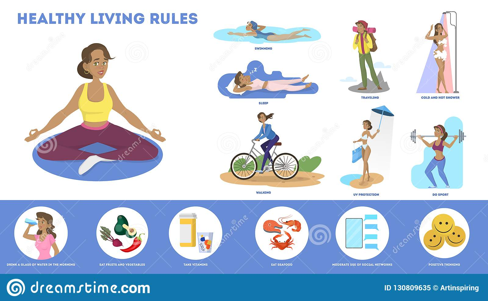 How To Get Fit And Healthy Lifestyle Tips Stock Vector
