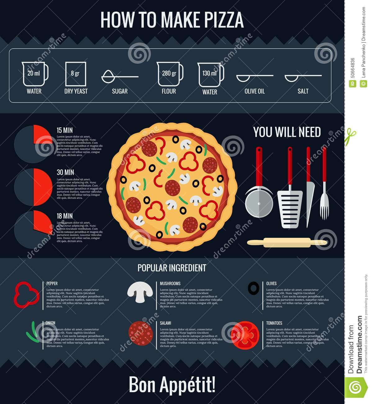 Kitchen 3d Design How To Make Pizza Infographic Stock Vector Image 50664836