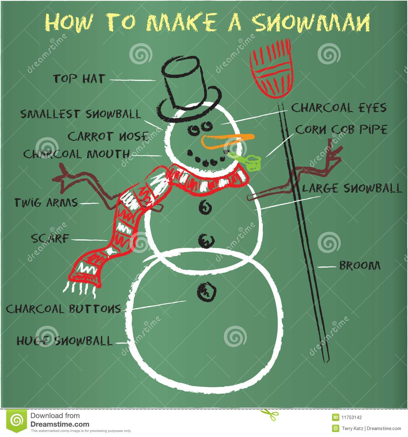 How to make a snowman stock photography image 11753142