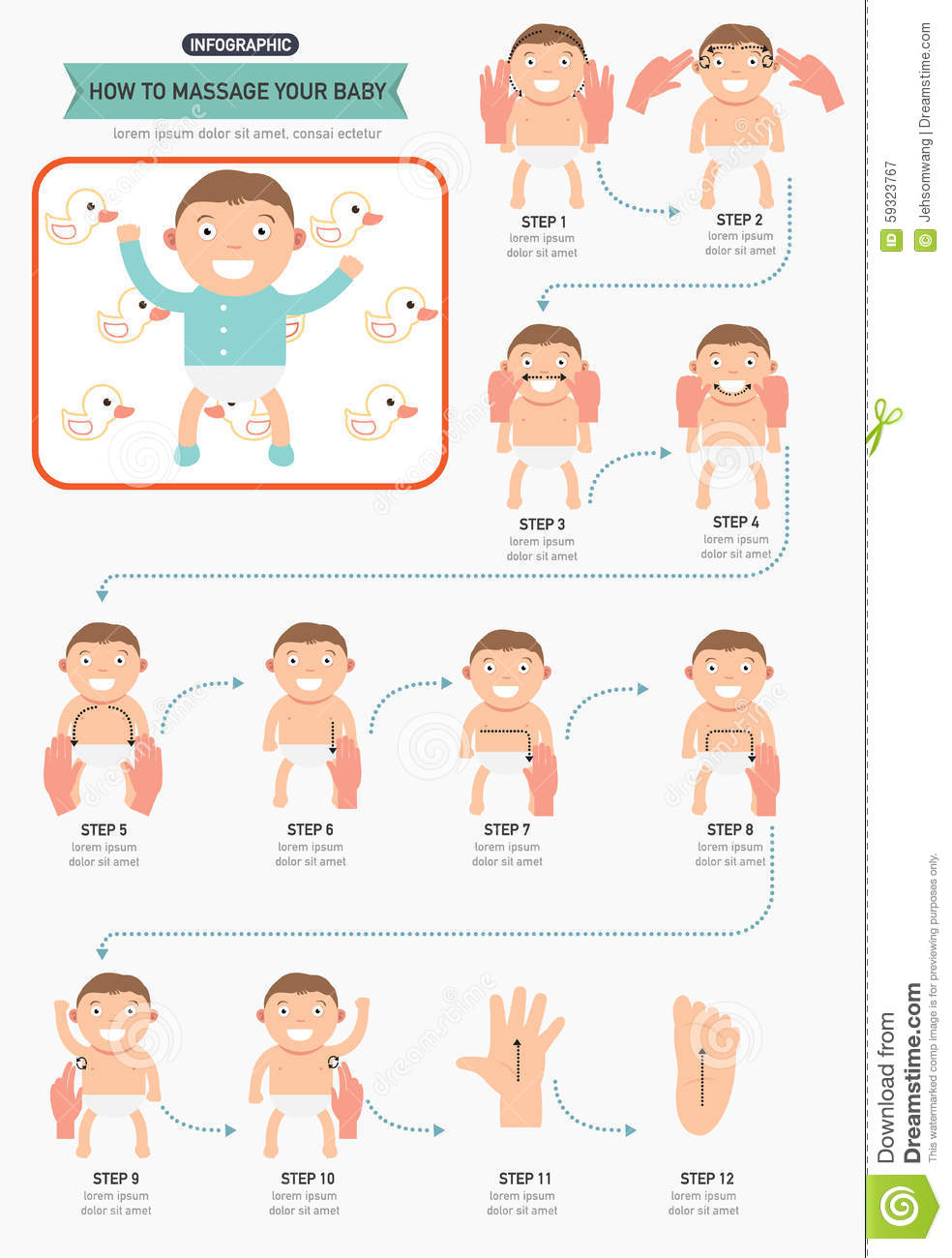How To Massage Your Baby Infographic Stock Vector