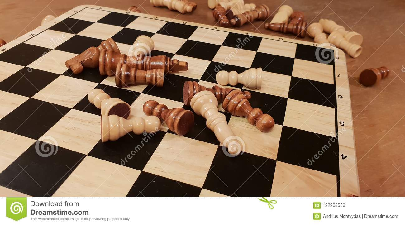How to play wooden board game chess. Improvisation and Different angles of chess sets, pieces and chessboard. White and black figu