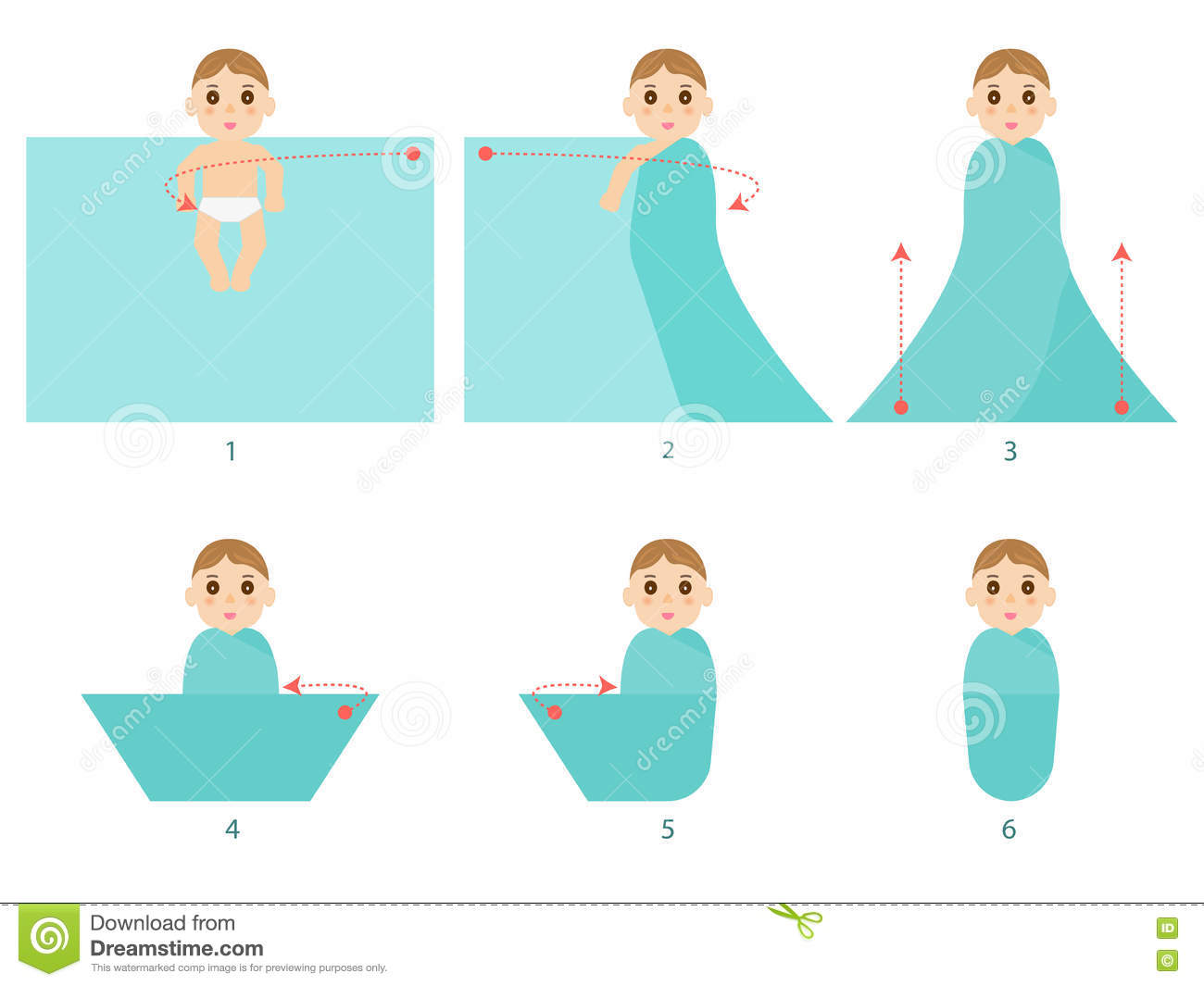 How To Swaddle Baby Stock Vector - Image: 68907942