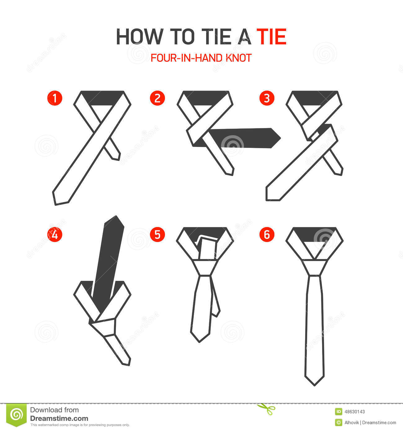 How To Tie A Tie Instructions Stock Vector - Illustration ...