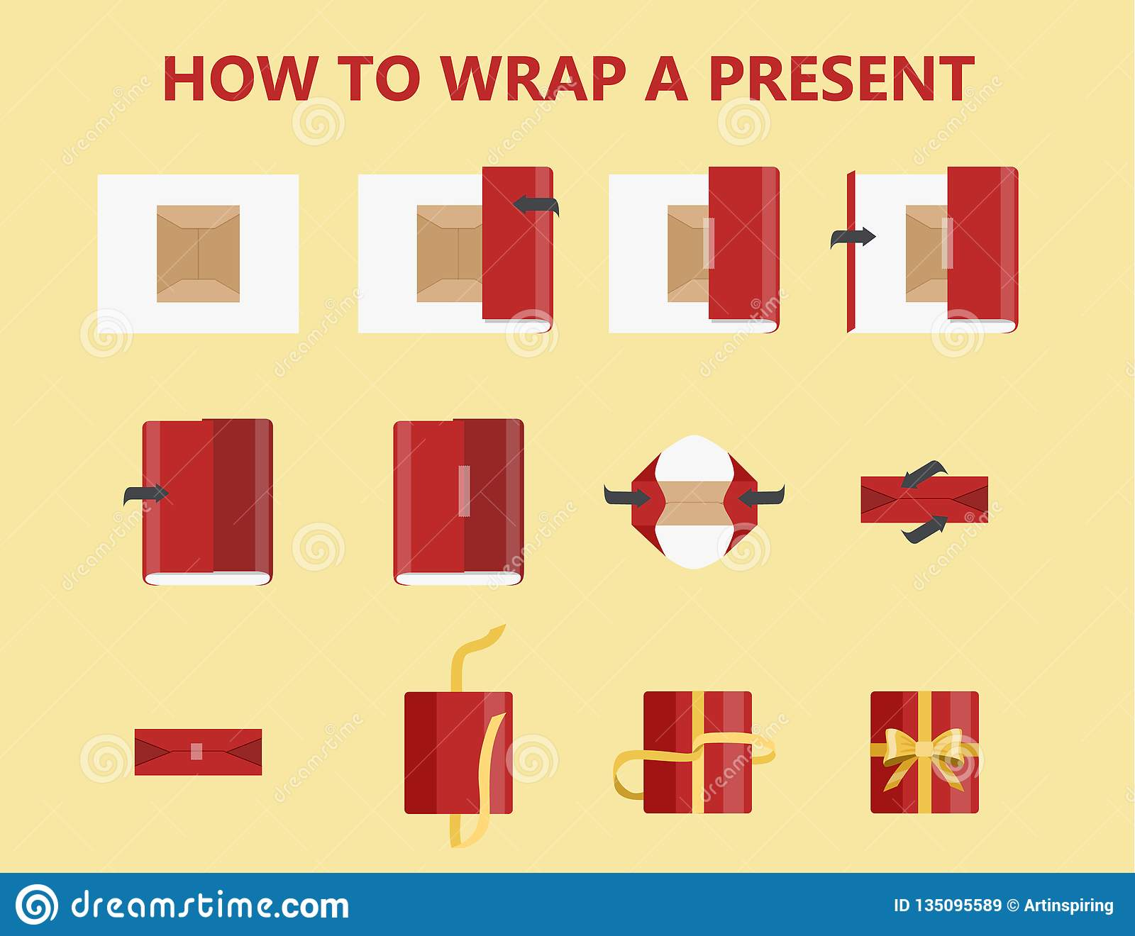 How To Wrap A Present Step By Step Instruction Stock Vector