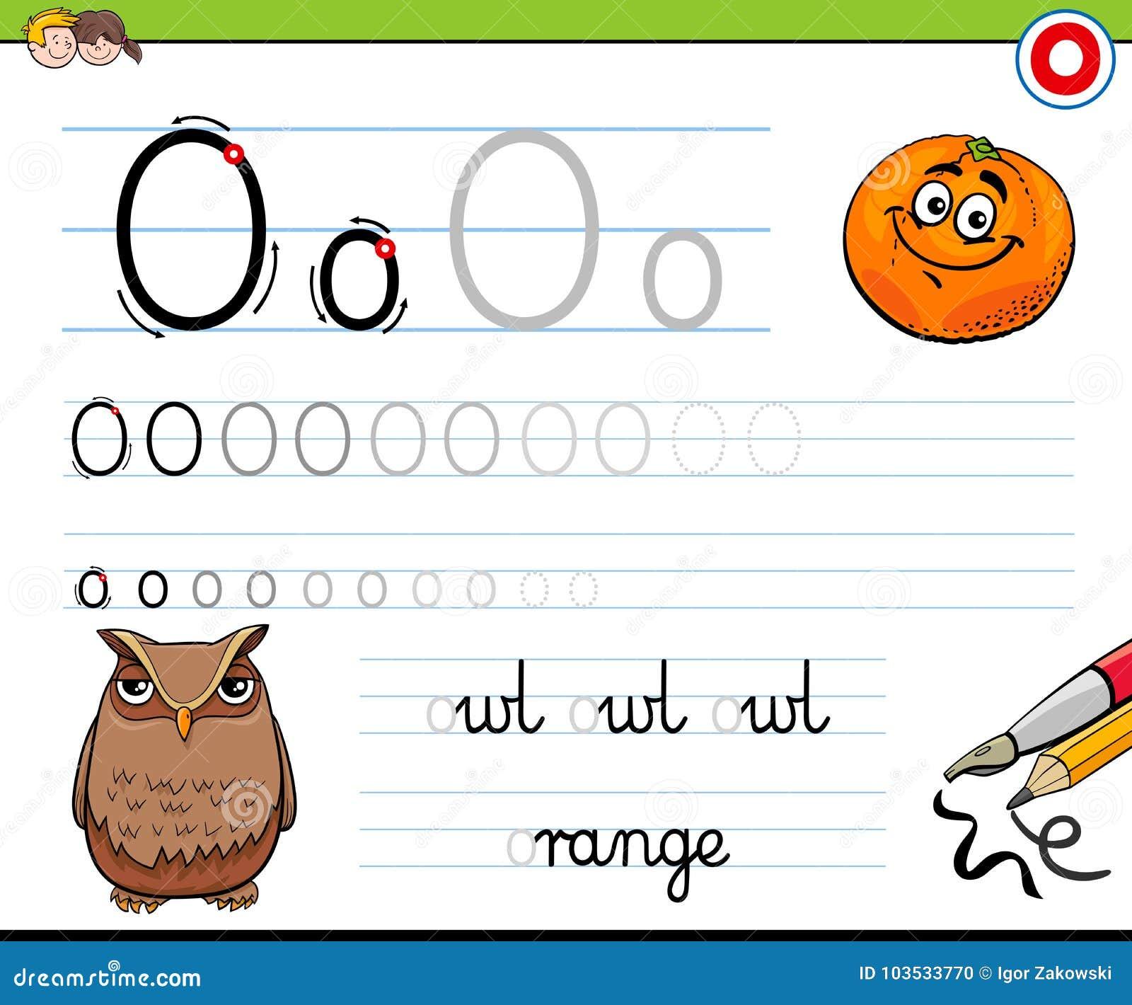 How To Write Letter O Worksheet For Kids Stock Vector Illustration