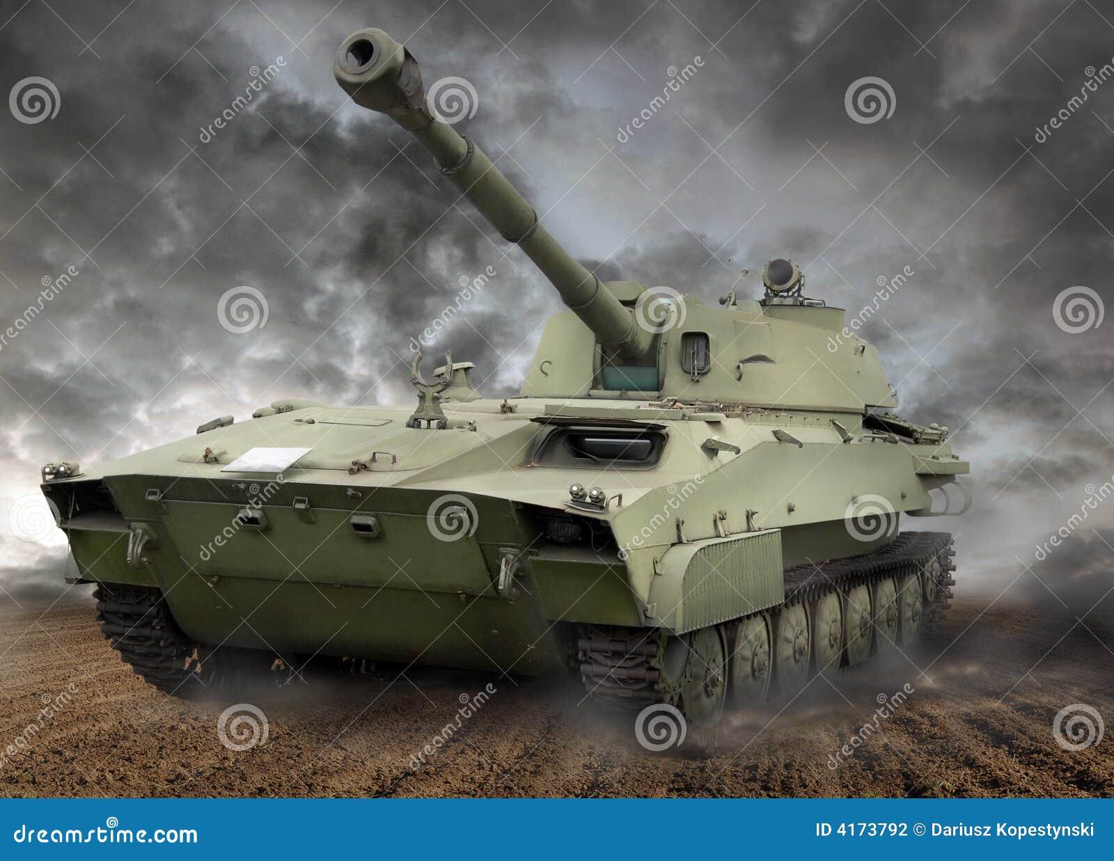 Howitzer motorised tank stock photo  Image of iron