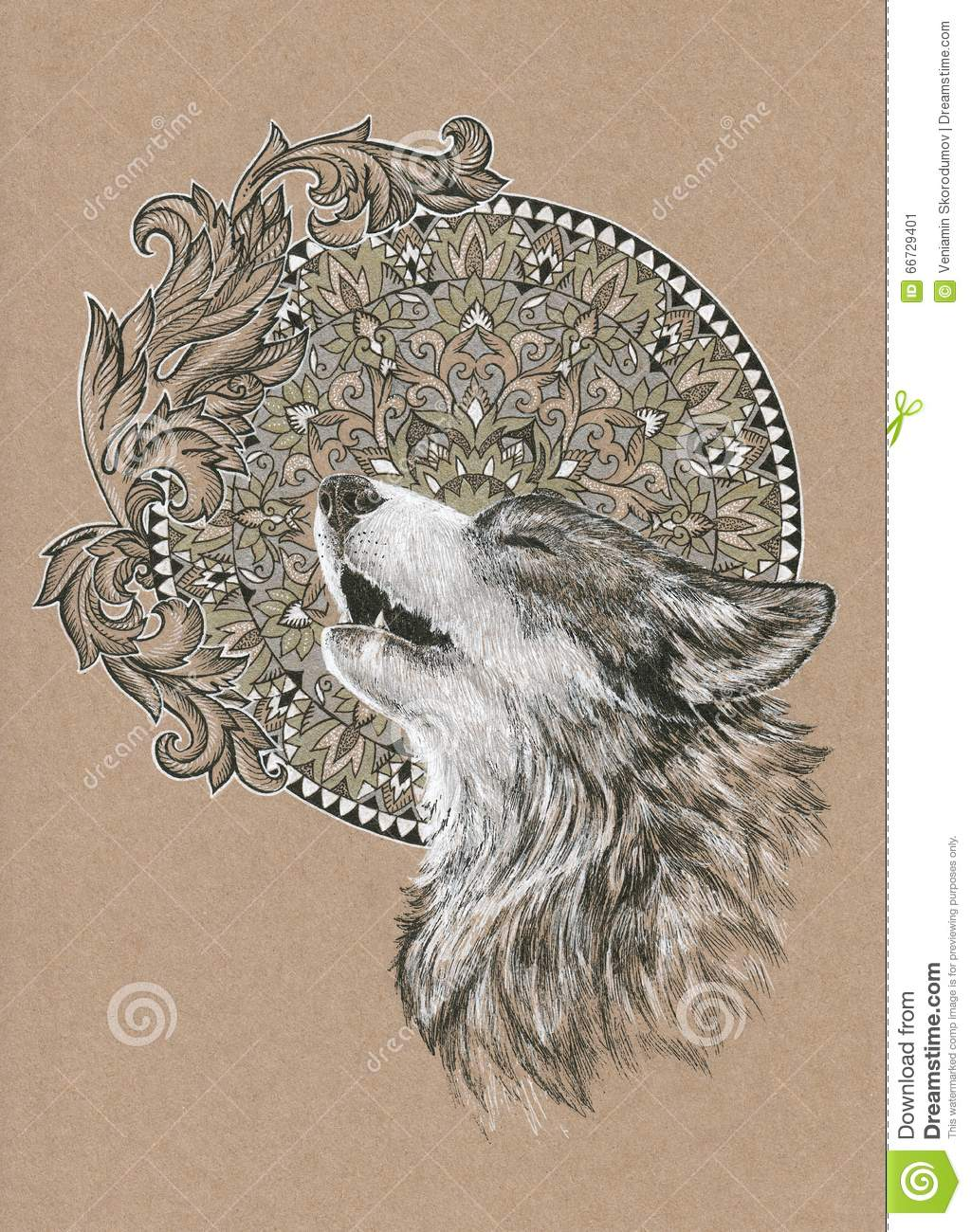 Howling Wolf Dog On The Background Of The Mandala Stock