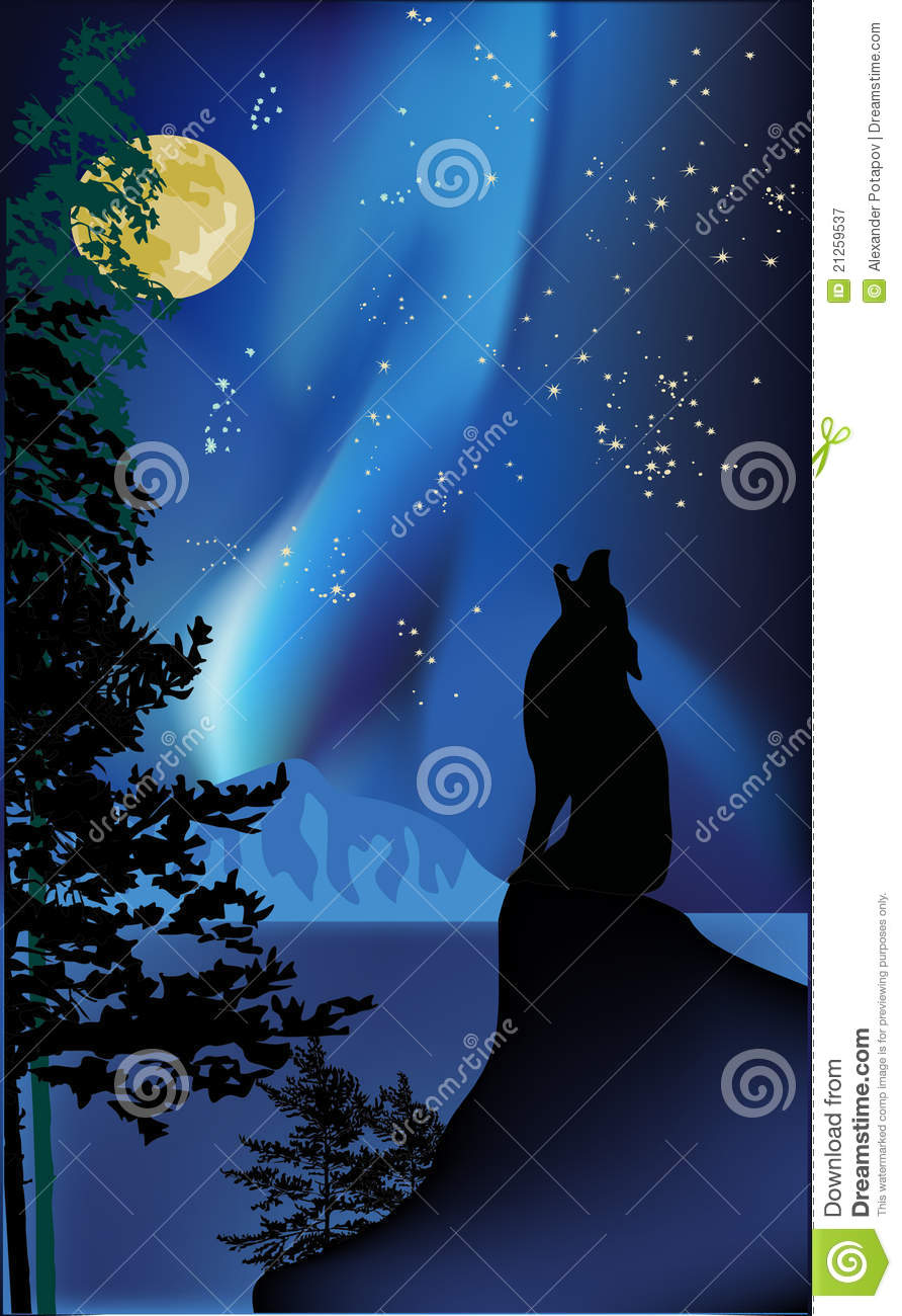 Howling Wolf Rock Aurora Royalty Free Stock Photography Image
