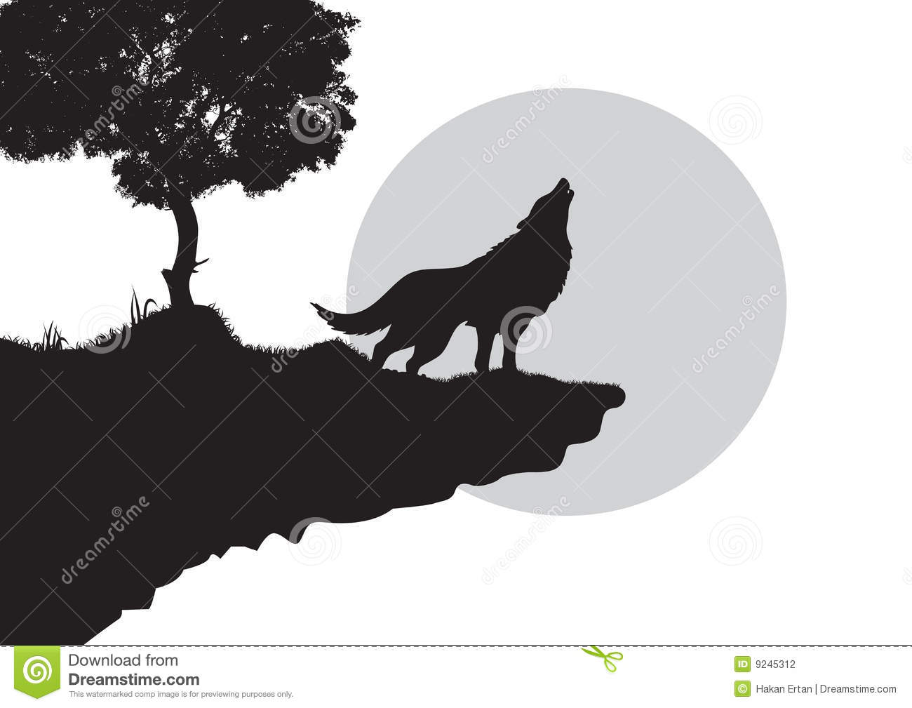 Howling wolf silhouette stock vector. Illustration of ...