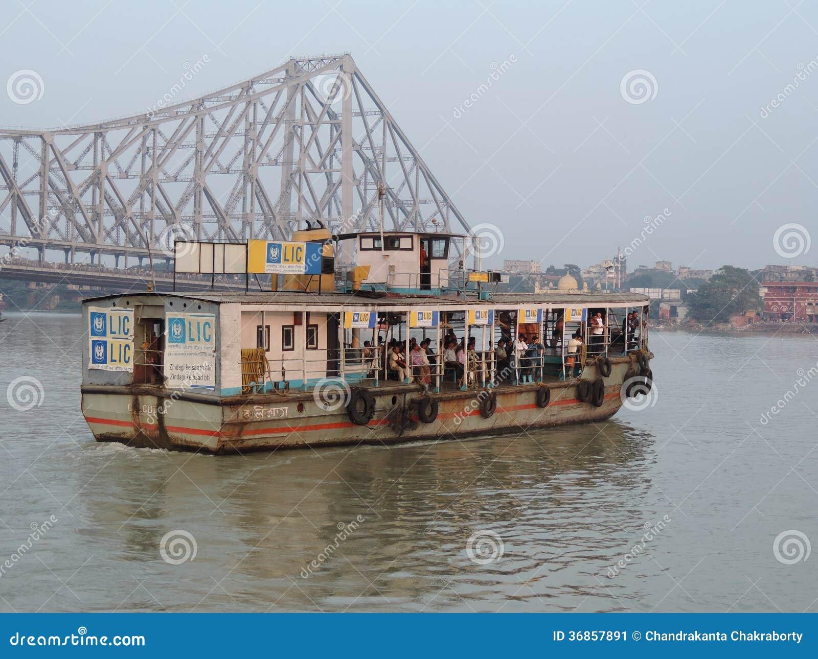 Howrah Bridge And Kolkata Boat Transport Editorial Photo - Image: 36857891