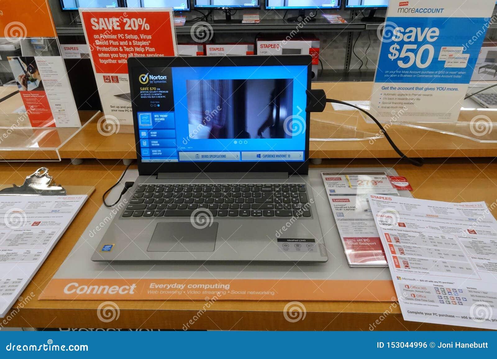 HP-Laptop op een lijst bij een detailhandel